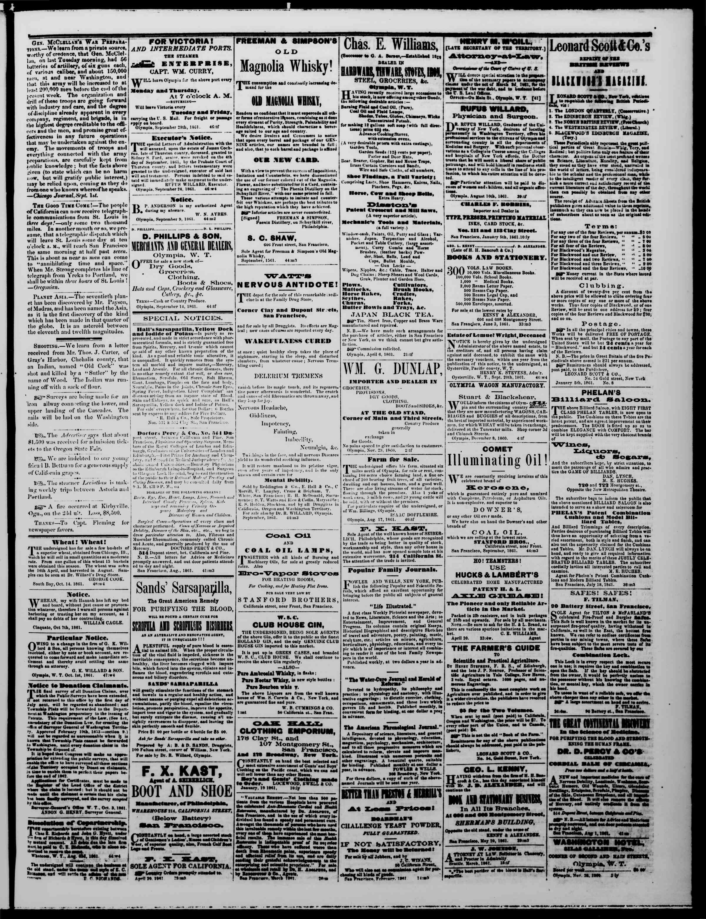 Newspaper of The Washington Standard dated October 12, 1861 Page 3