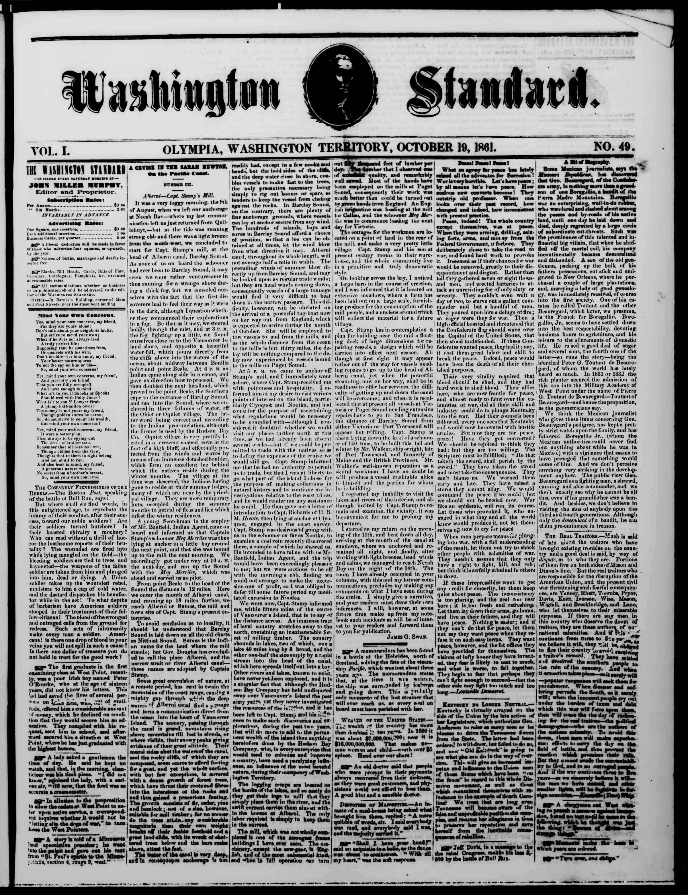 Newspaper of The Washington Standard dated October 19, 1861 Page 1