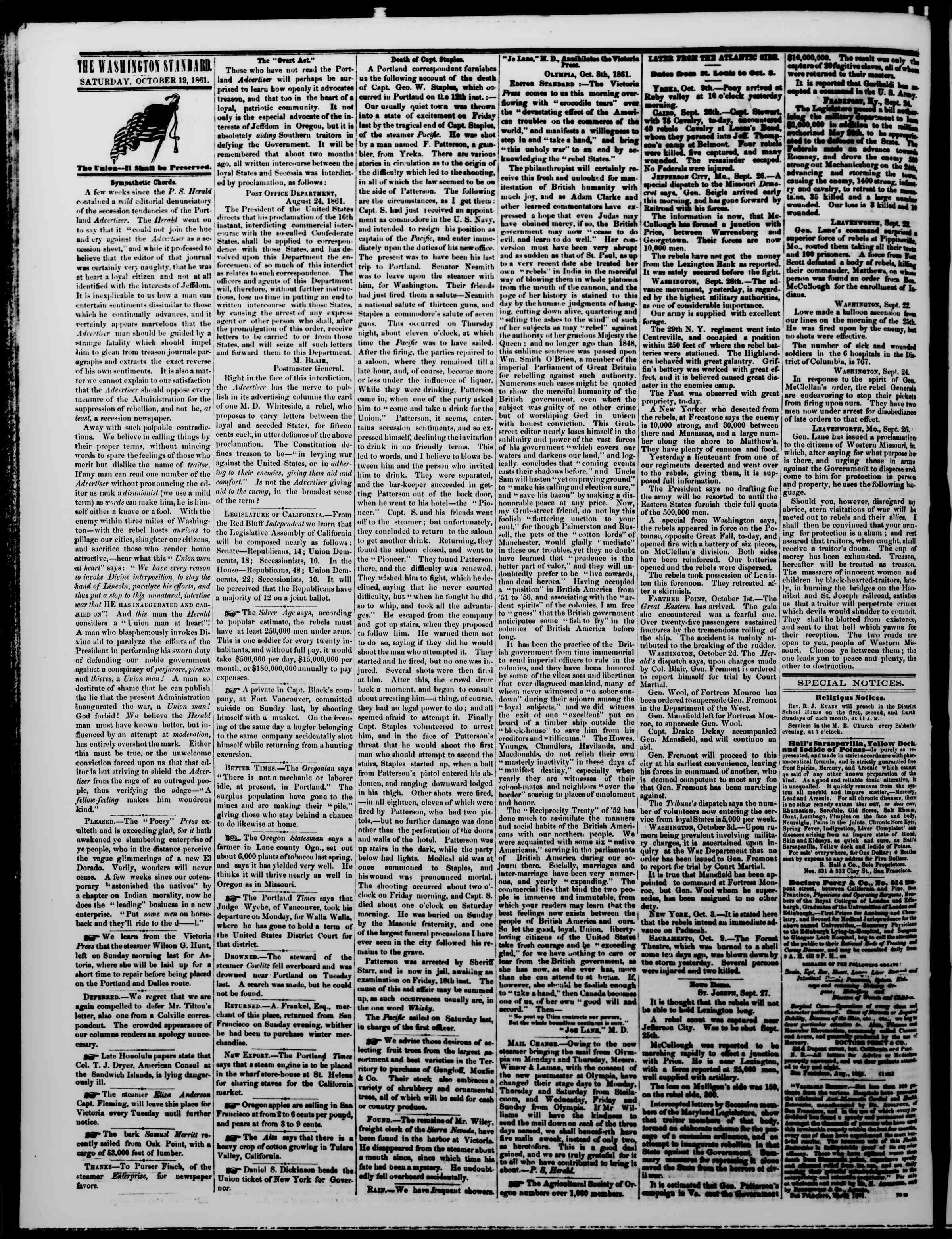 Newspaper of The Washington Standard dated October 19, 1861 Page 2
