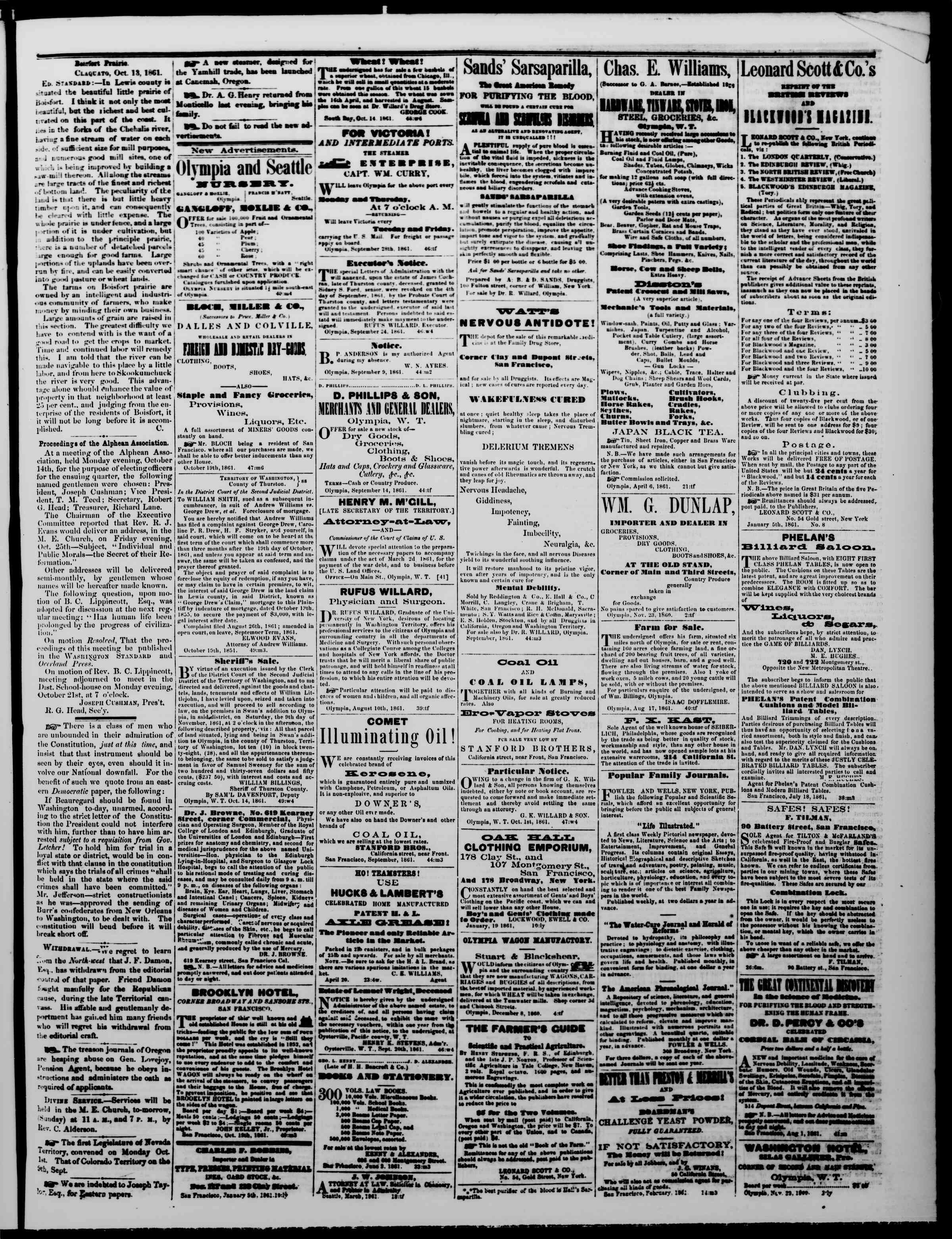 Newspaper of The Washington Standard dated October 19, 1861 Page 3