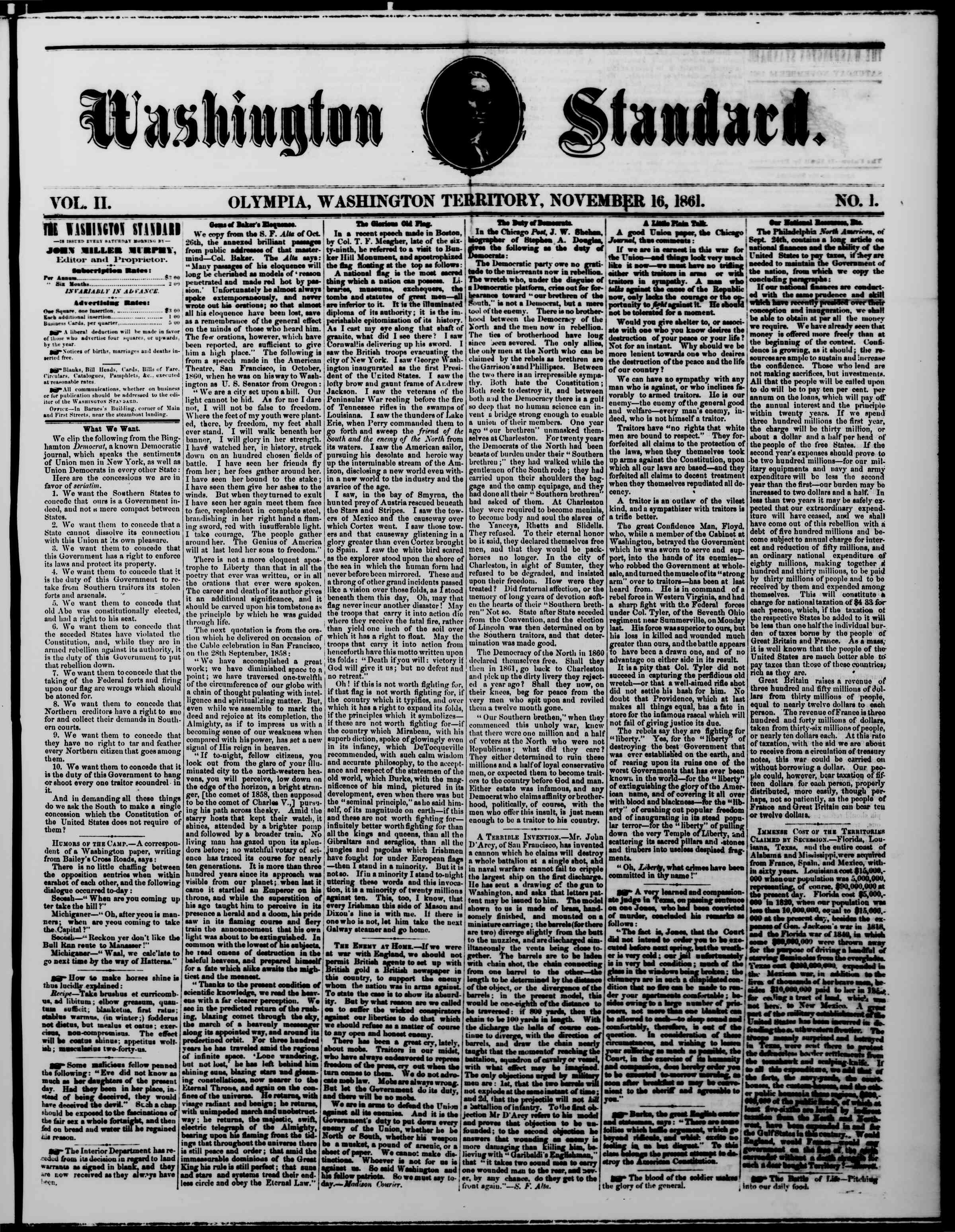 Newspaper of The Washington Standard dated November 16, 1861 Page 1