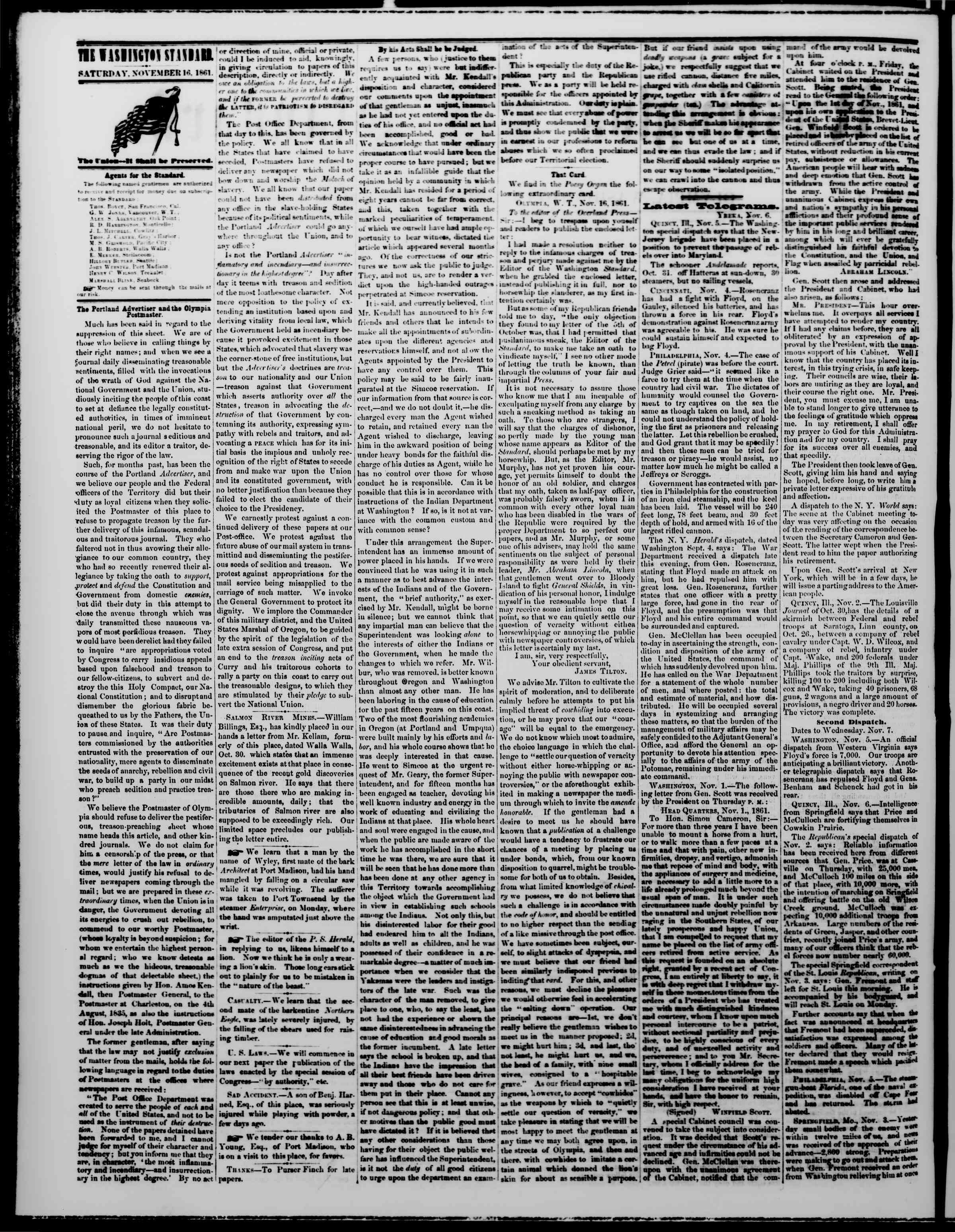 Newspaper of The Washington Standard dated November 16, 1861 Page 2