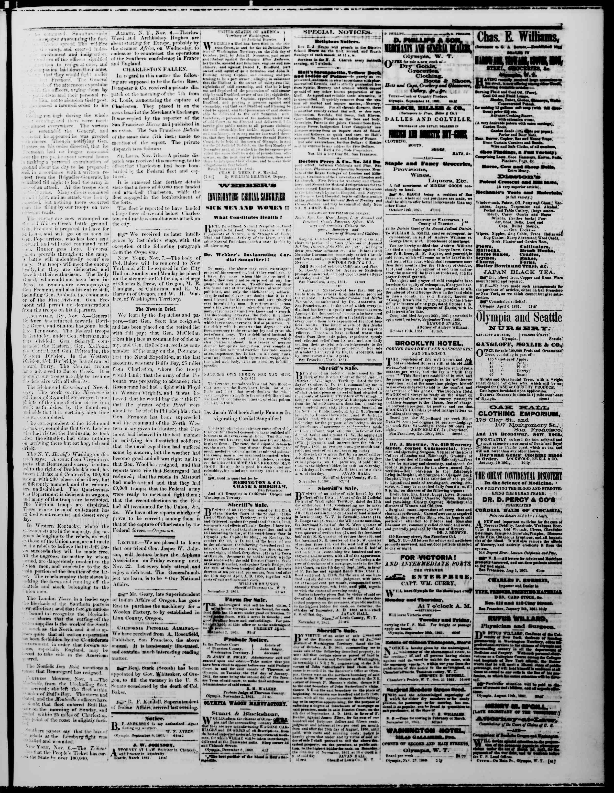 Newspaper of The Washington Standard dated November 16, 1861 Page 3