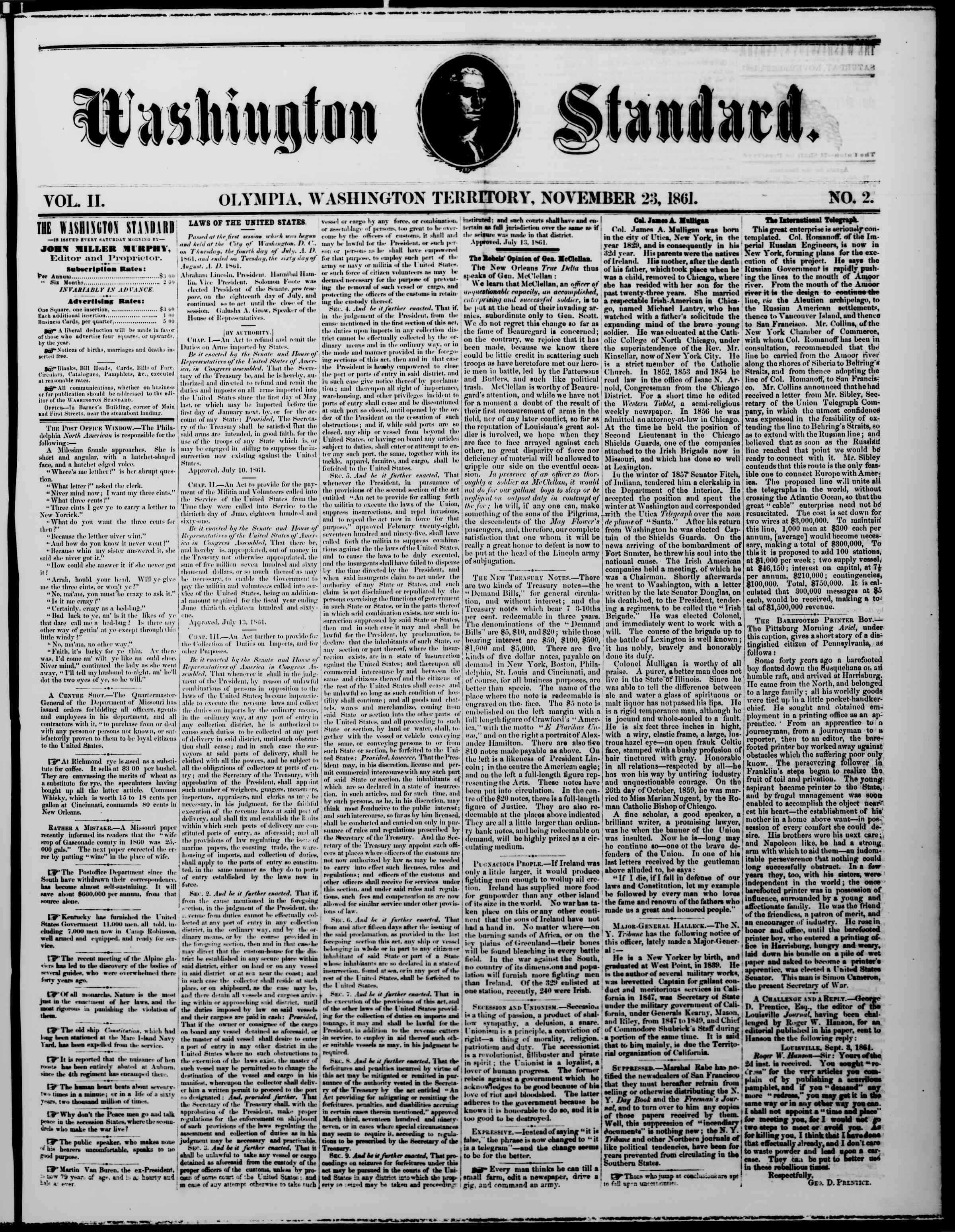 Newspaper of The Washington Standard dated November 23, 1861 Page 1