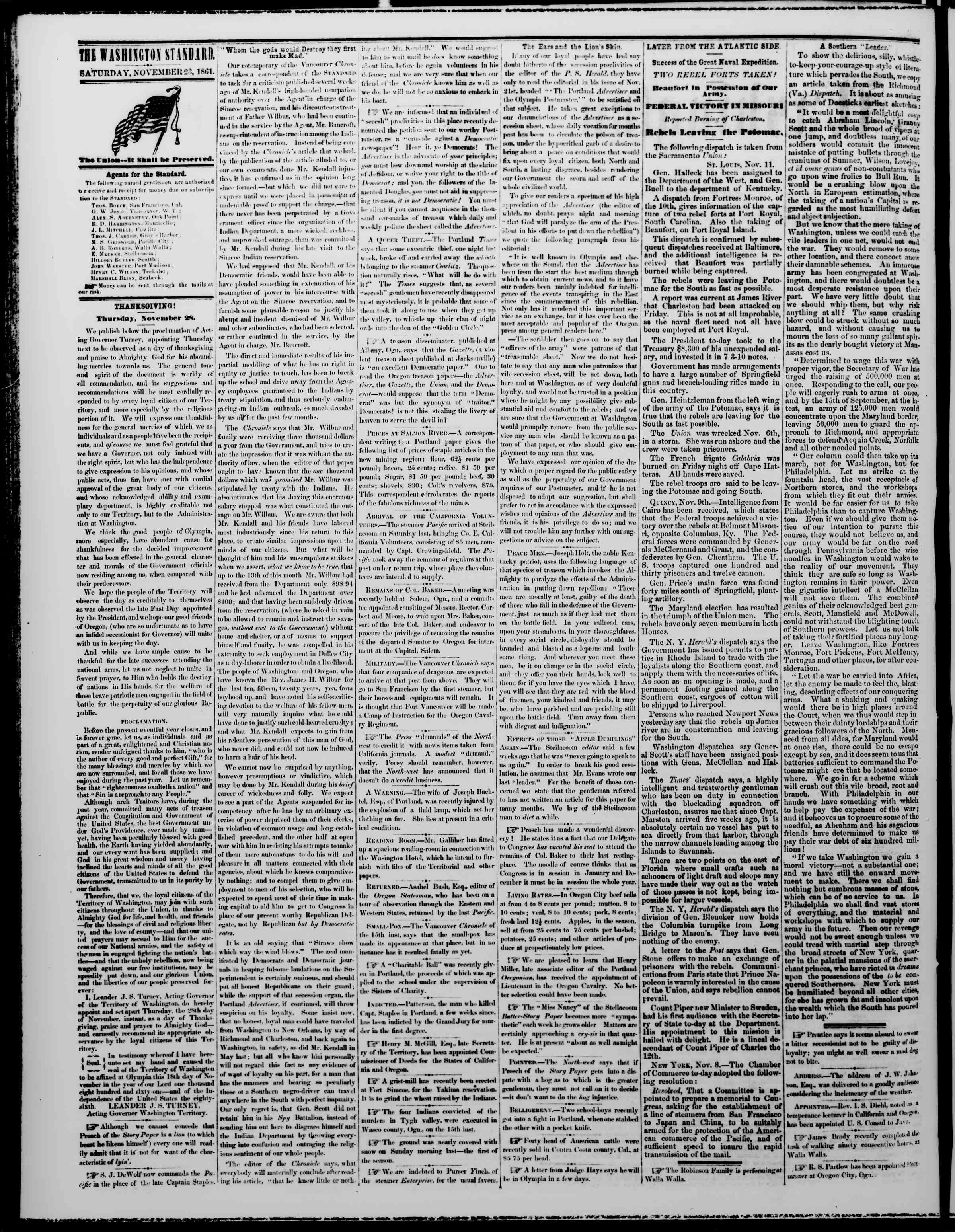 Newspaper of The Washington Standard dated November 23, 1861 Page 2
