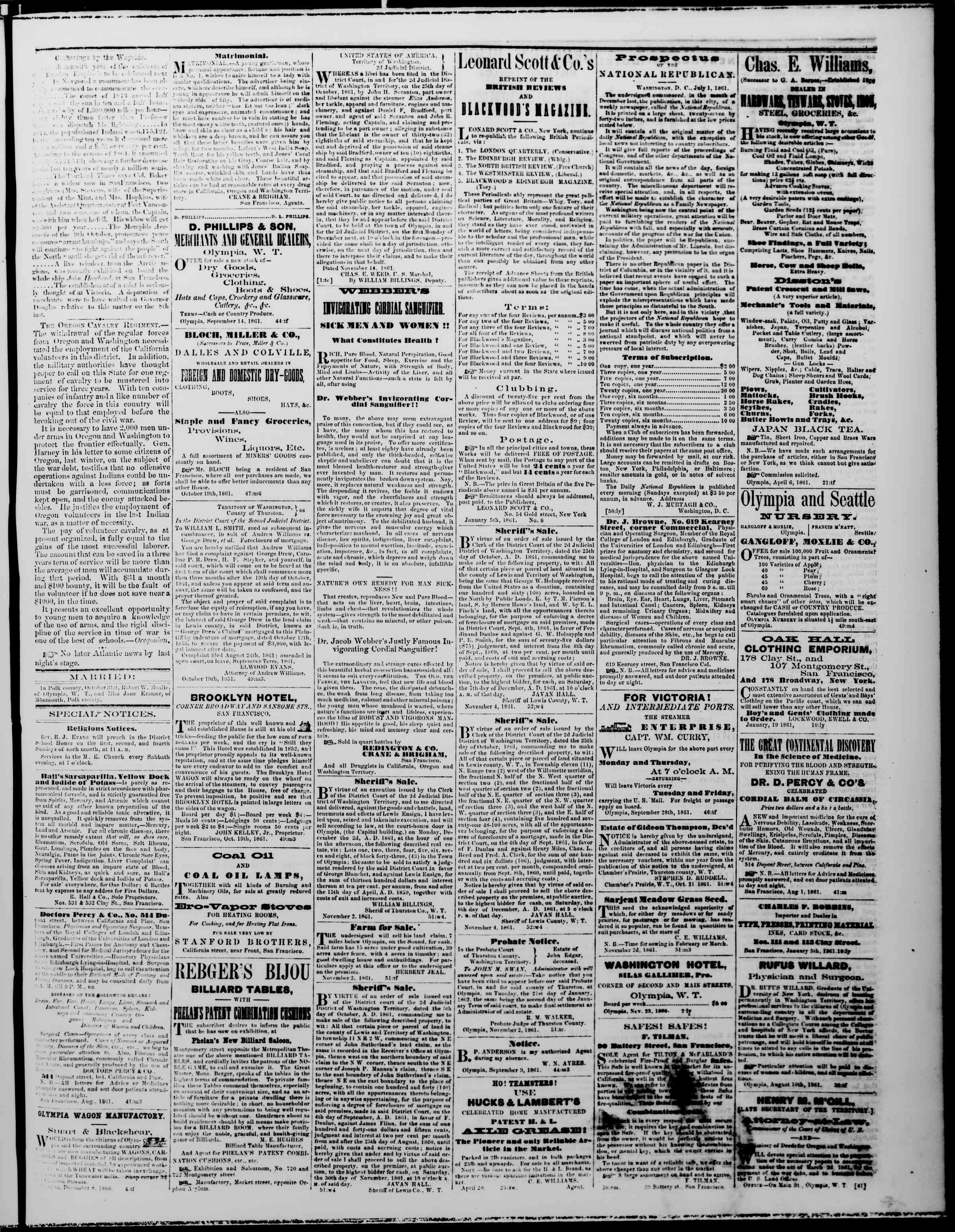 Newspaper of The Washington Standard dated November 23, 1861 Page 3