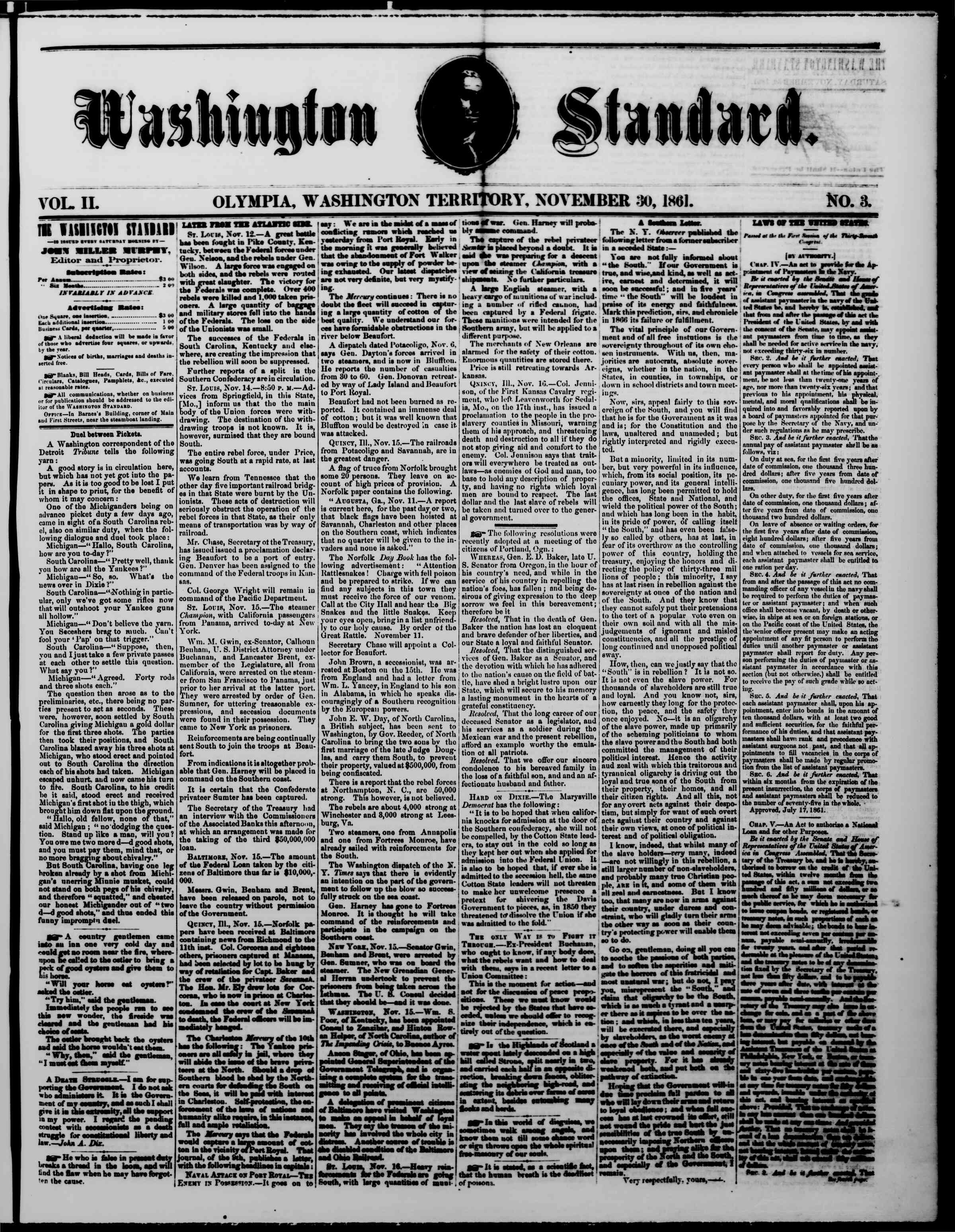 Newspaper of The Washington Standard dated November 30, 1861 Page 1