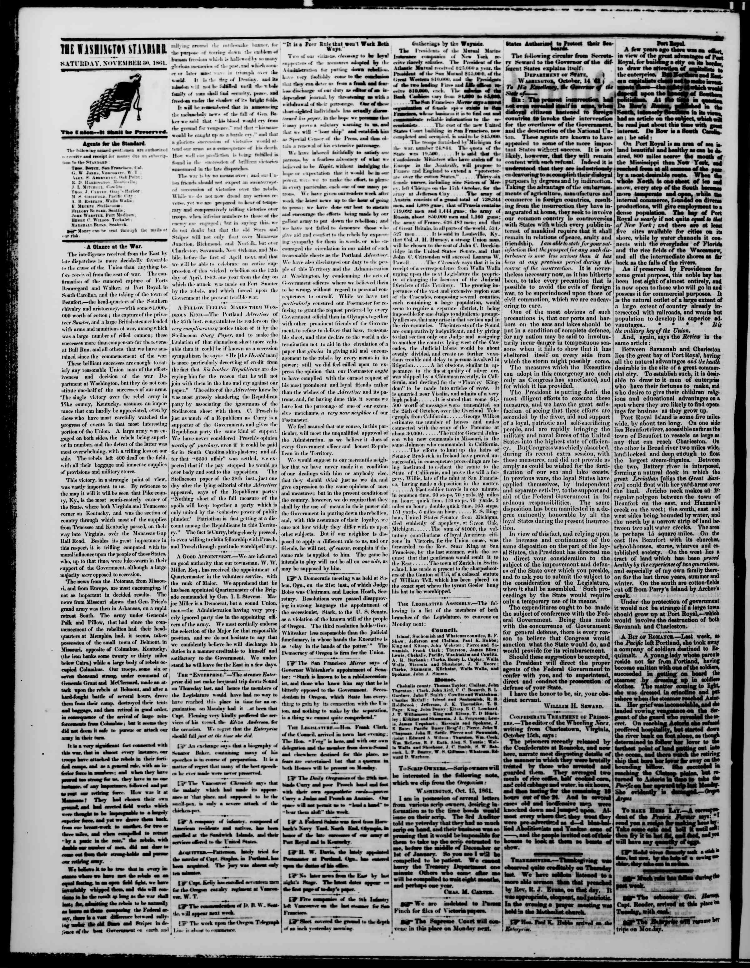 Newspaper of The Washington Standard dated November 30, 1861 Page 2