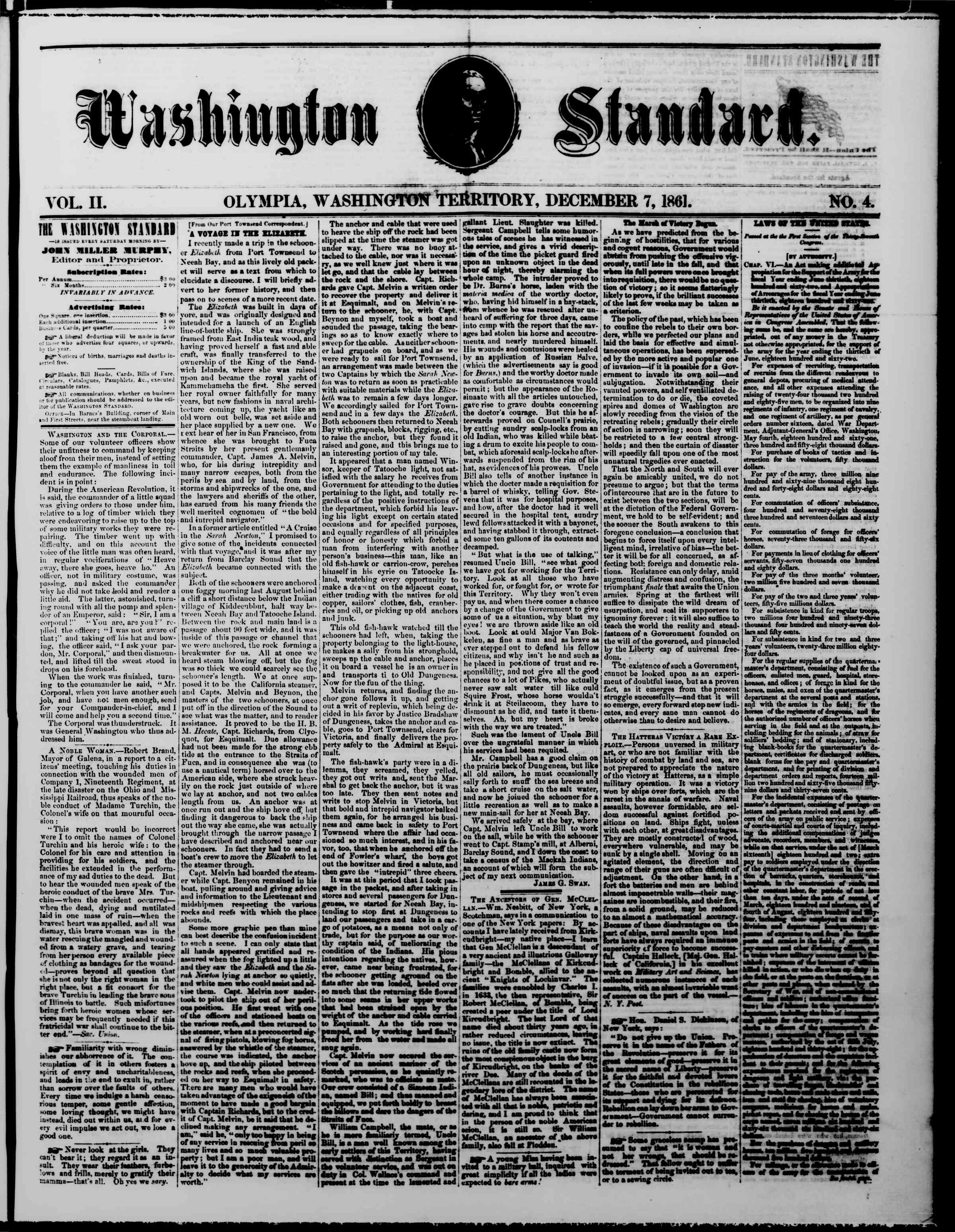 Newspaper of The Washington Standard dated December 7, 1861 Page 1