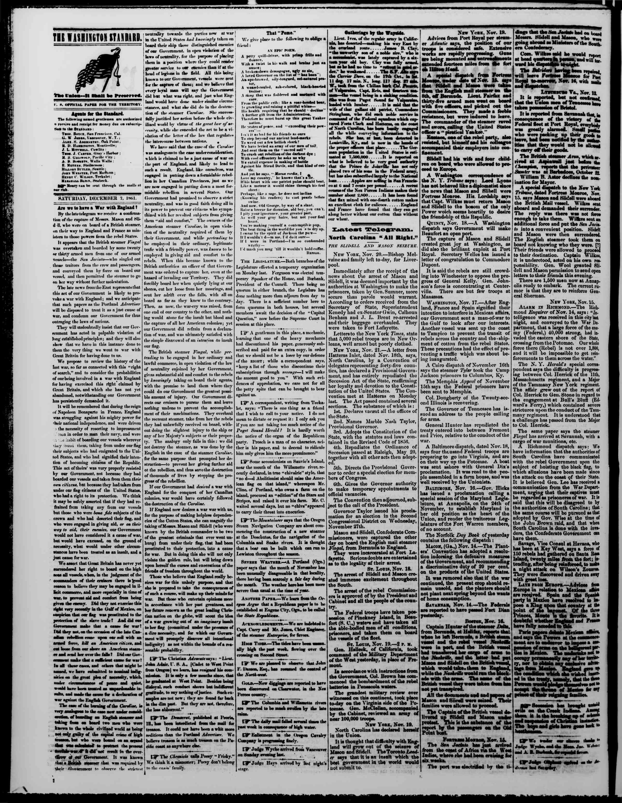 Newspaper of The Washington Standard dated December 7, 1861 Page 2