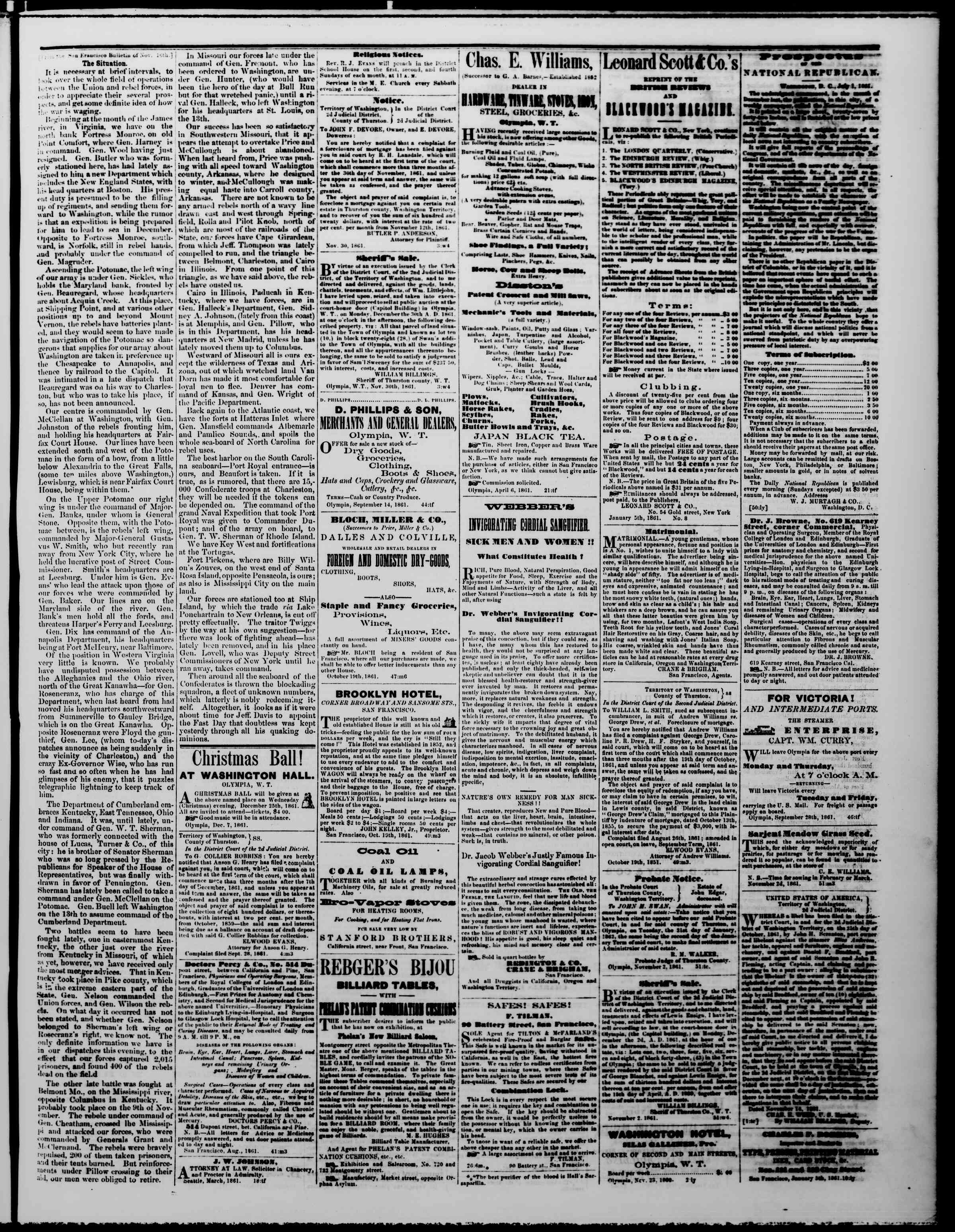 Newspaper of The Washington Standard dated December 7, 1861 Page 3