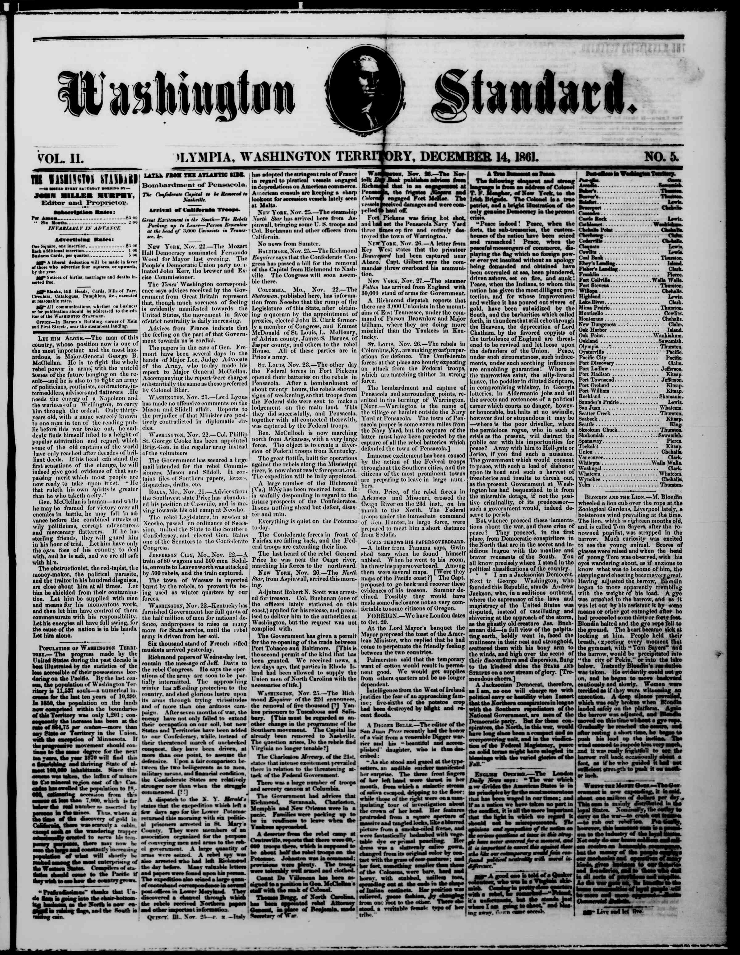 Newspaper of The Washington Standard dated December 14, 1861 Page 1