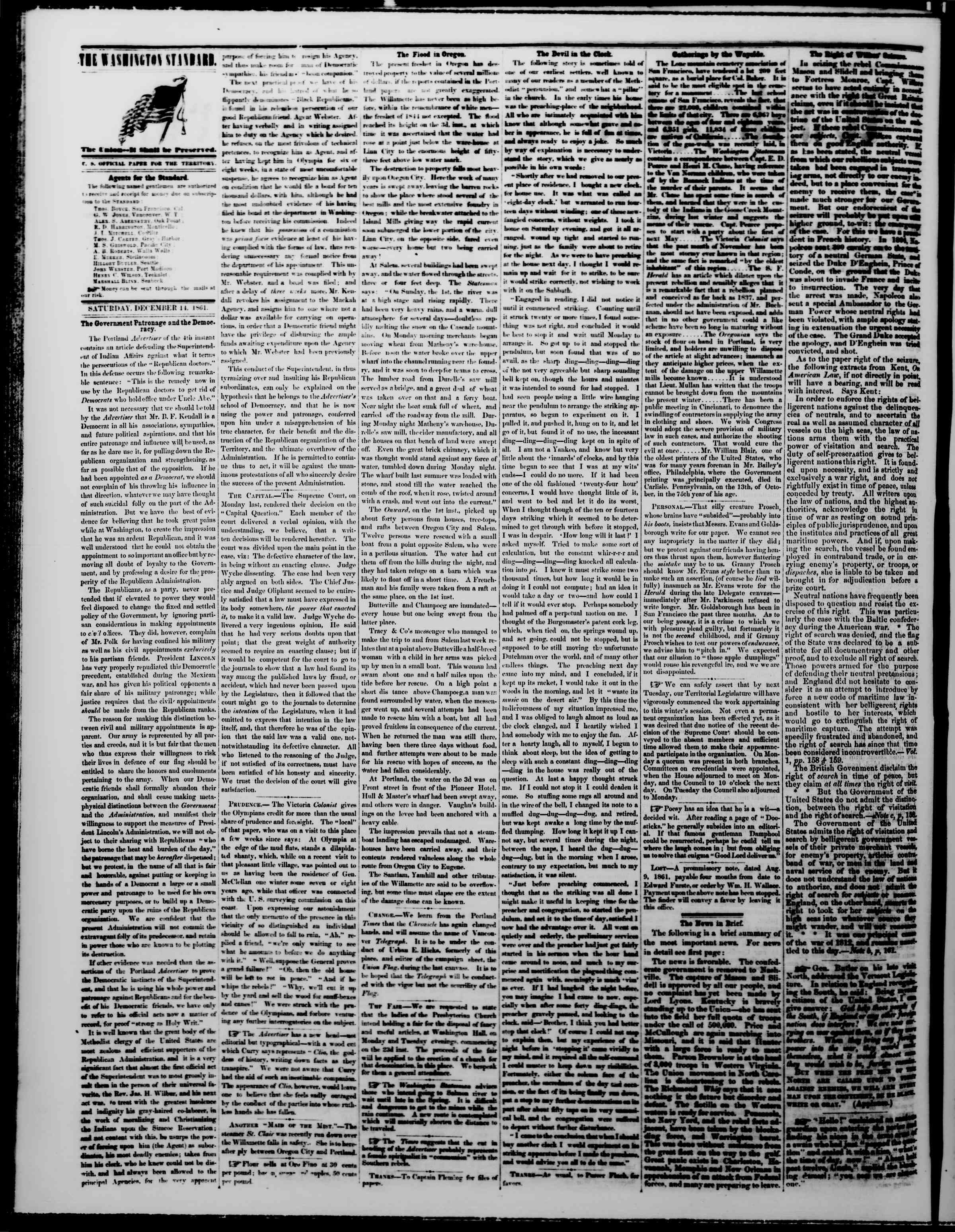 Newspaper of The Washington Standard dated December 14, 1861 Page 2