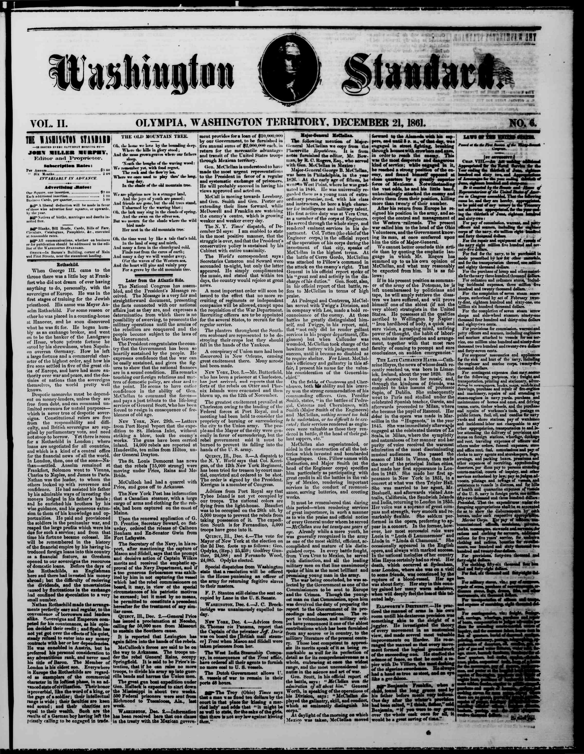 Newspaper of The Washington Standard dated December 21, 1861 Page 1