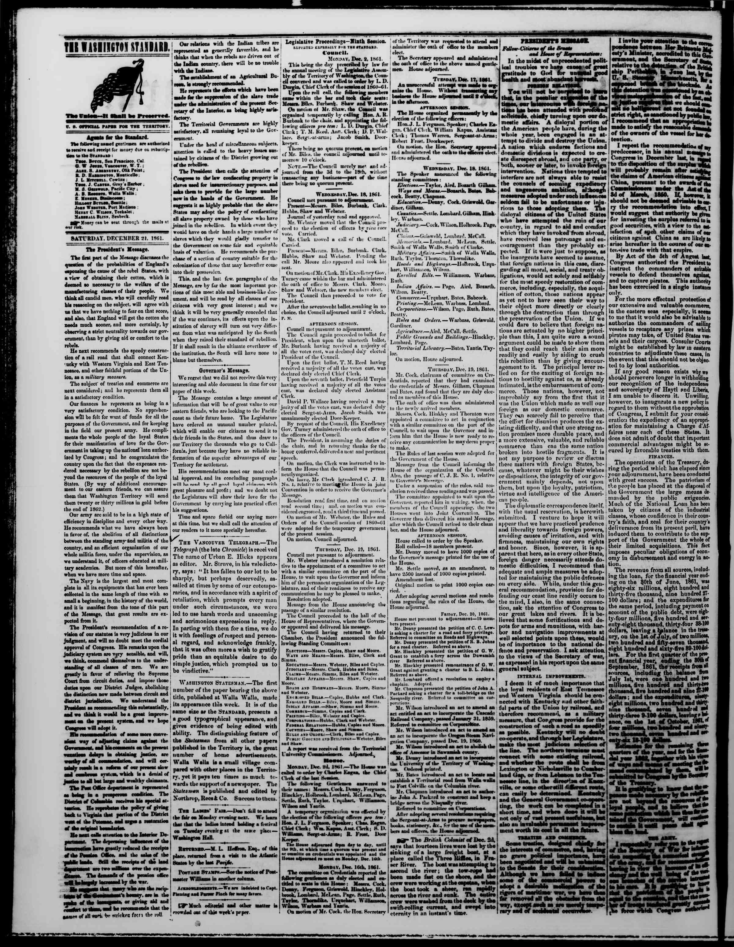 21 Aralık 1861 tarihli The Washington Standard Gazetesi Sayfa 2