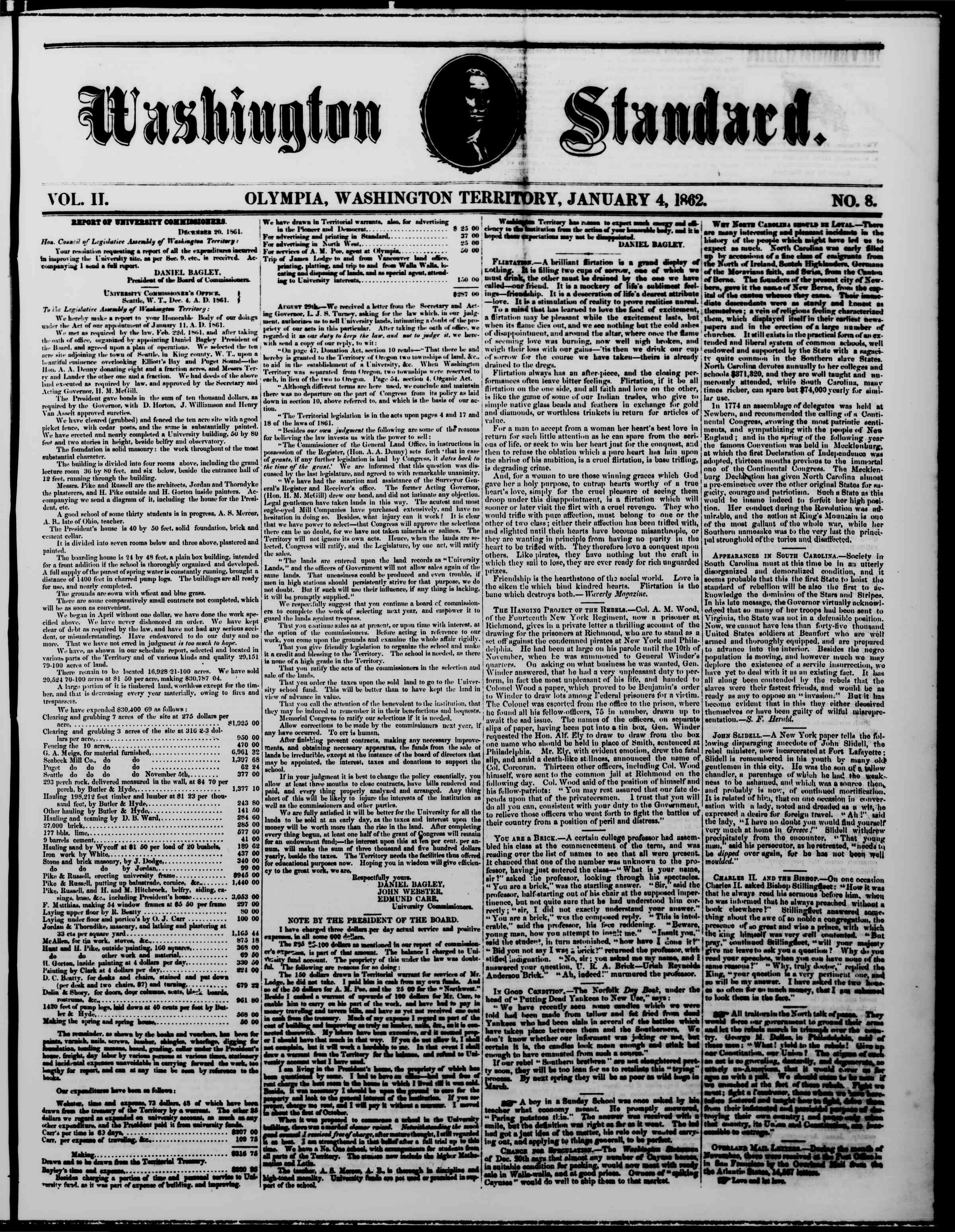 Newspaper of The Washington Standard dated January 4, 1862 Page 1