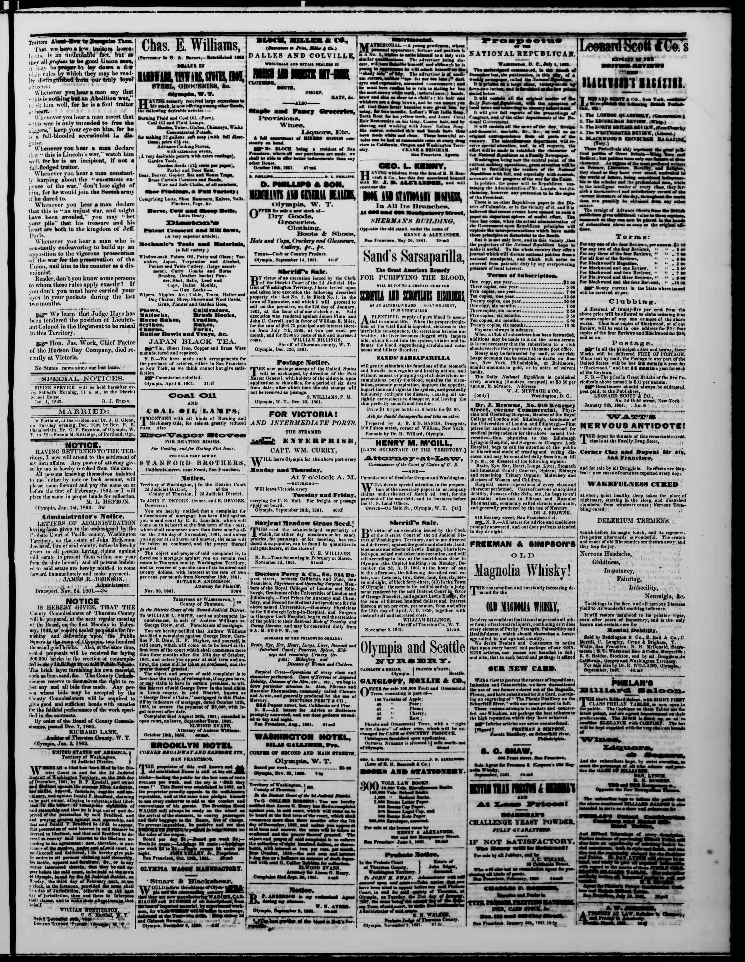 Newspaper of The Washington Standard dated January 4, 1862 Page 3