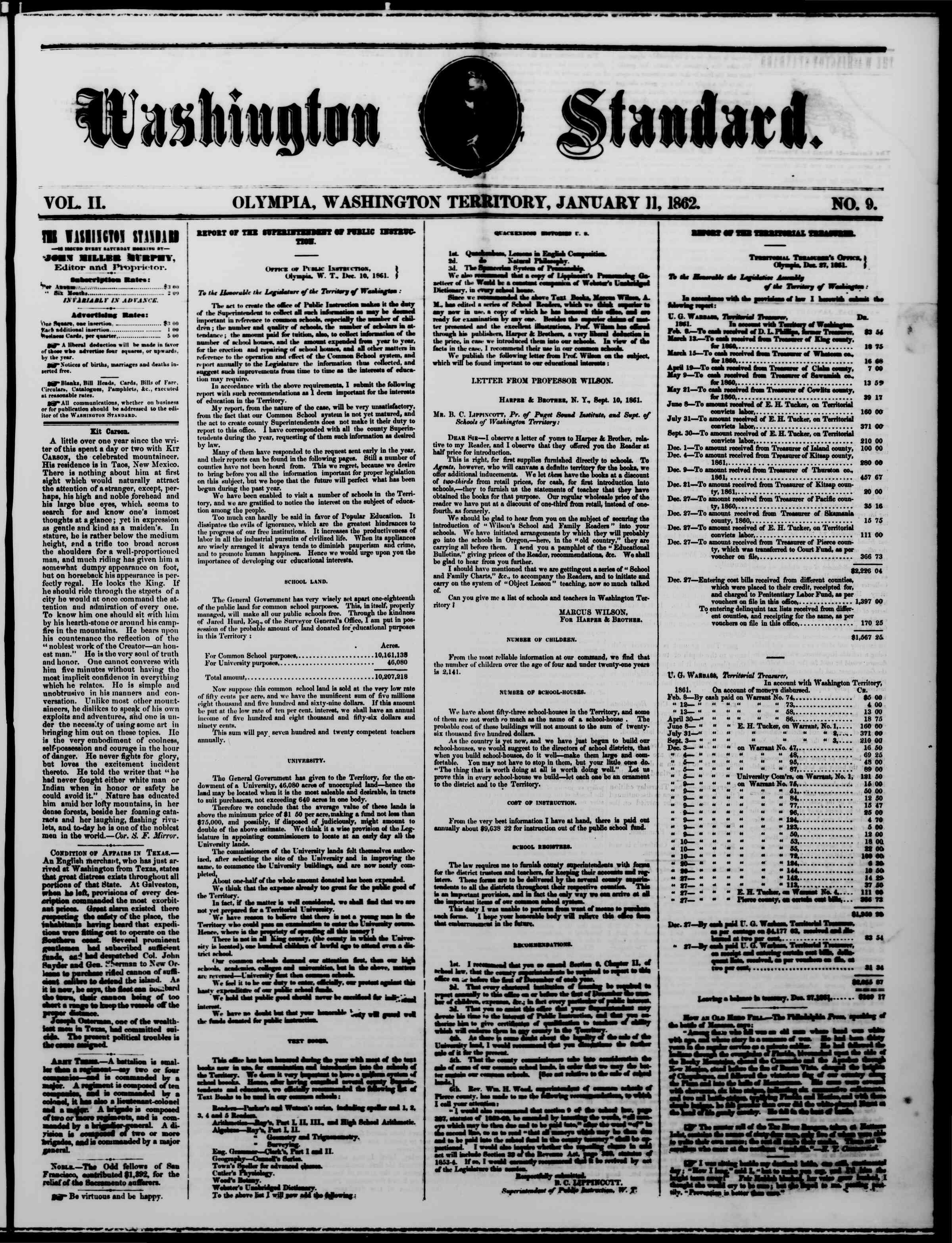 Newspaper of The Washington Standard dated January 11, 1862 Page 1