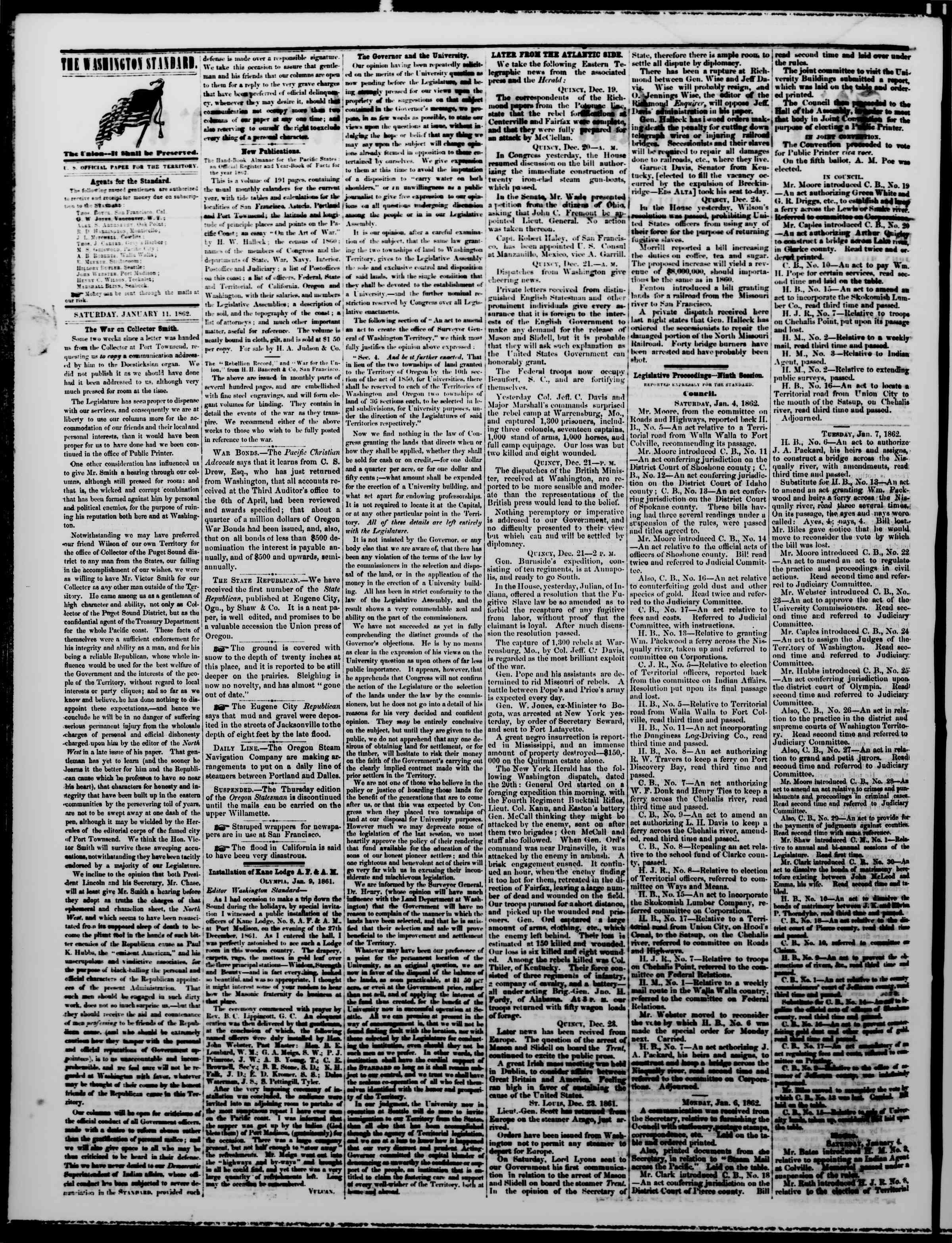 Newspaper of The Washington Standard dated January 11, 1862 Page 2