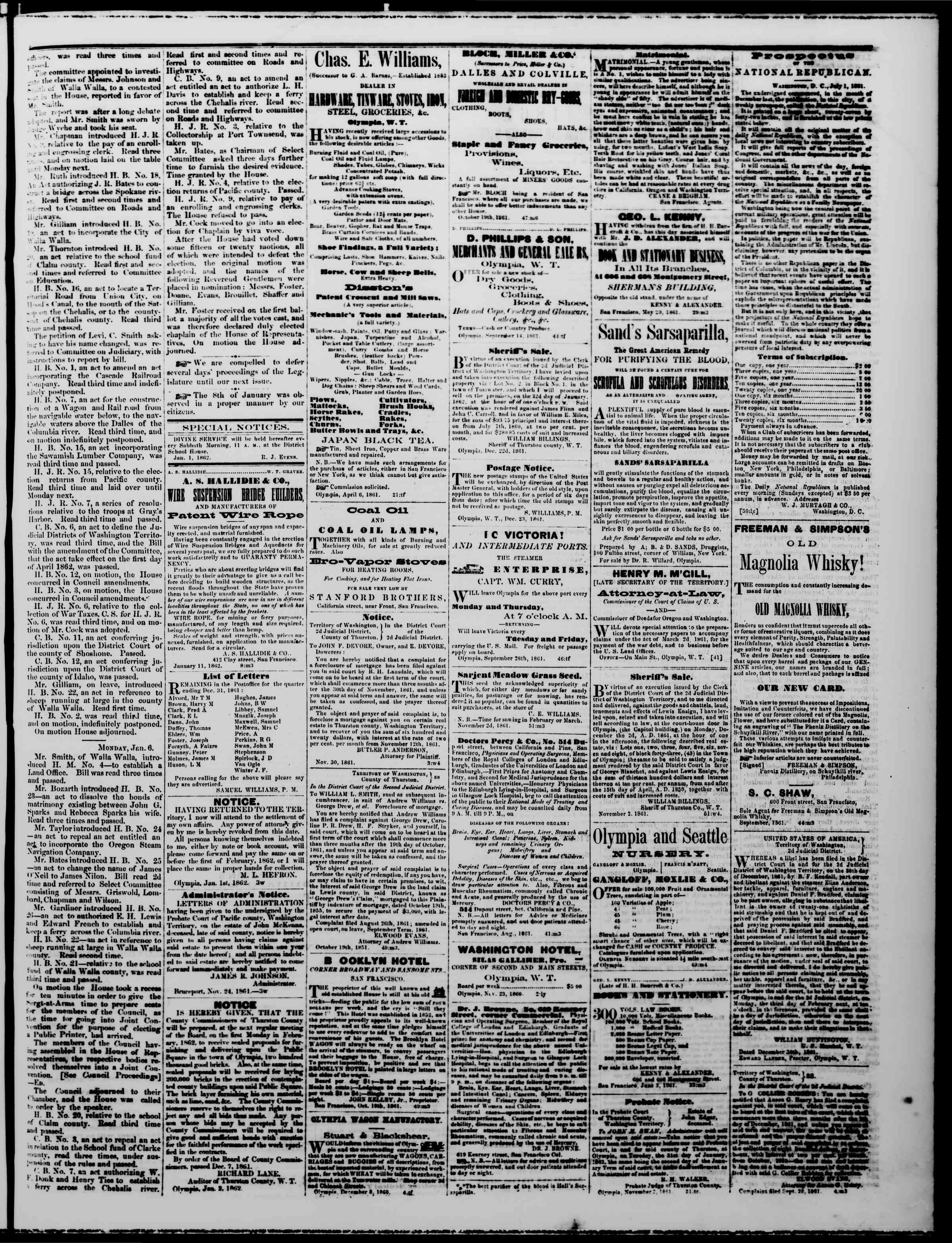 Newspaper of The Washington Standard dated January 11, 1862 Page 3
