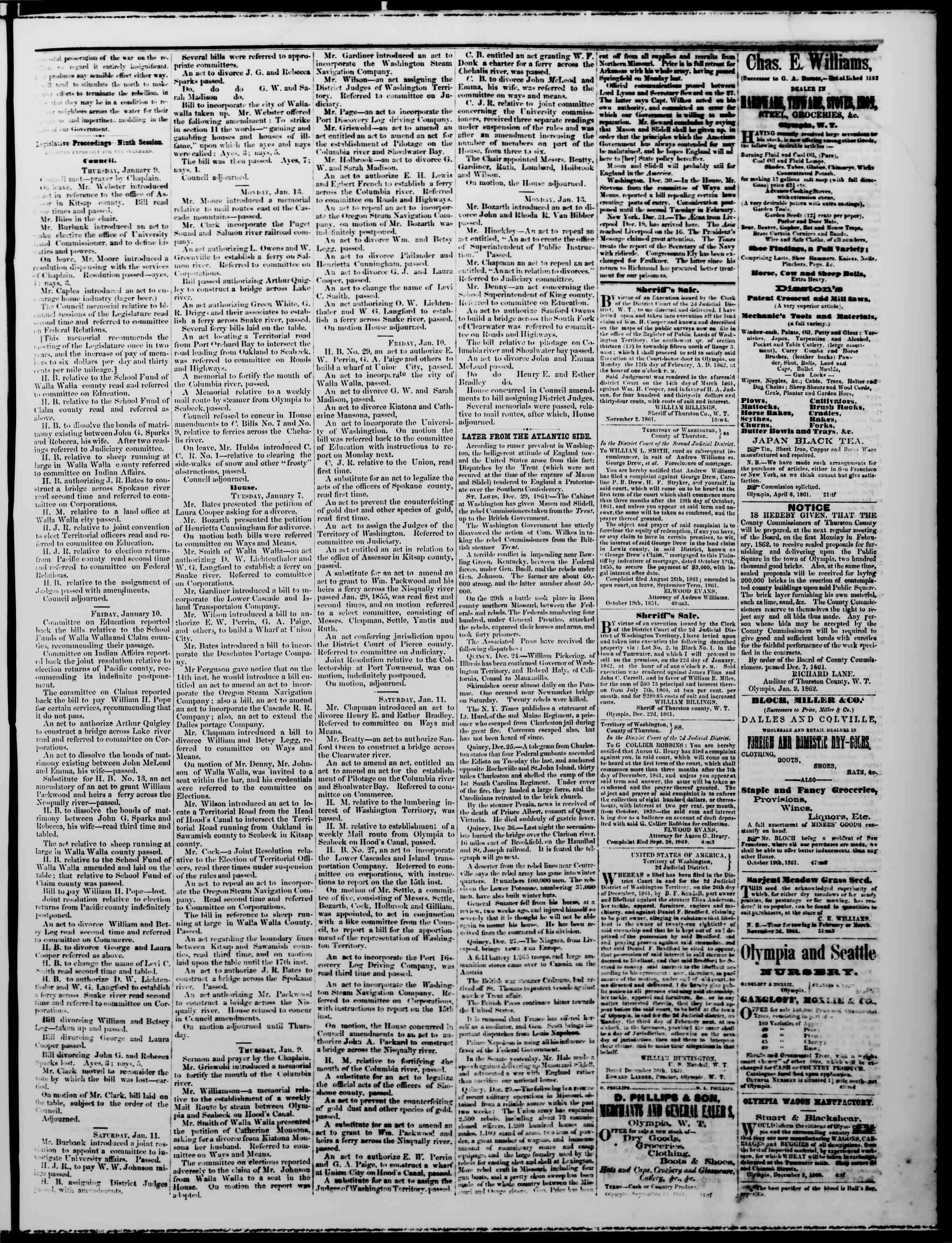 Newspaper of The Washington Standard dated January 18, 1862 Page 3