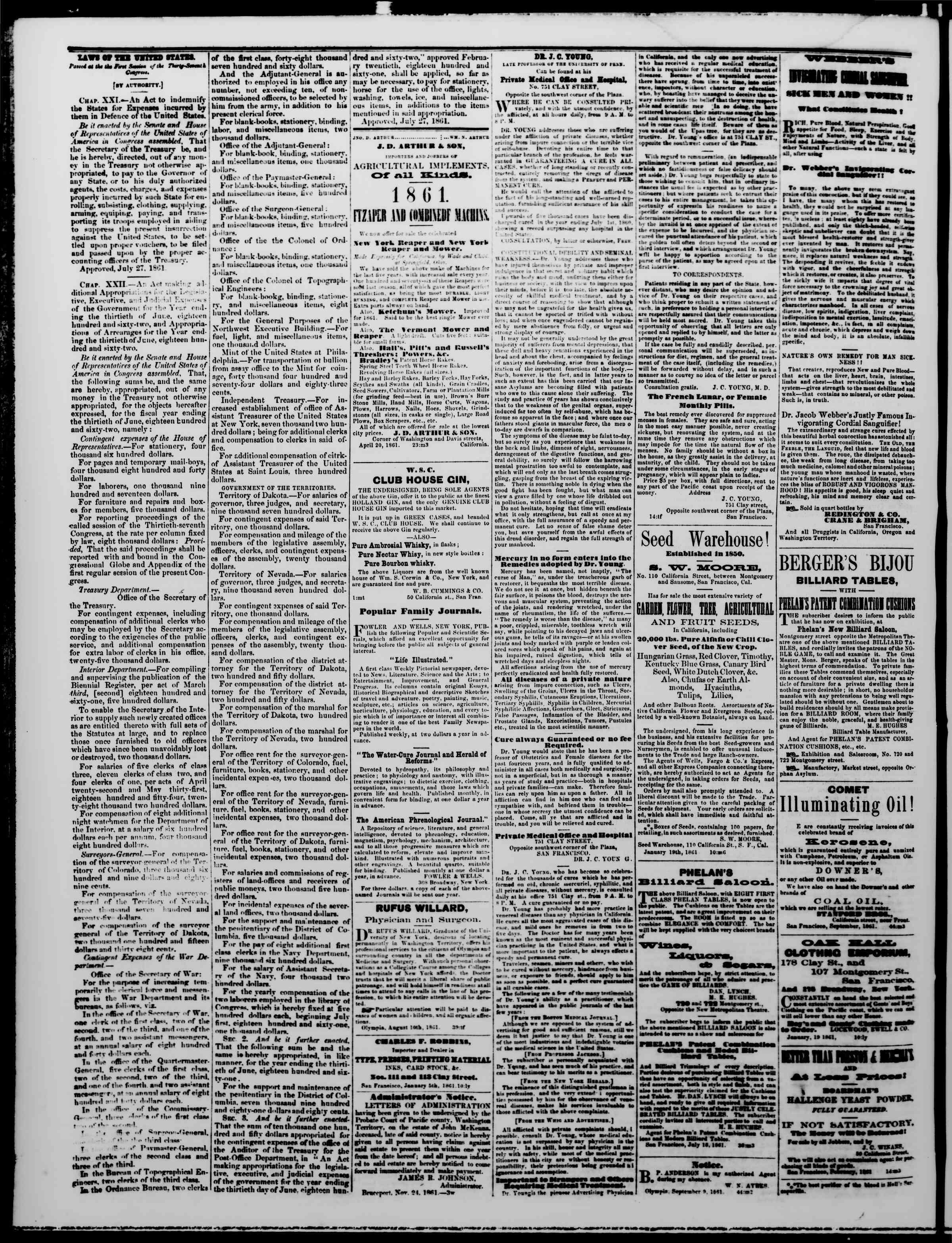 Newspaper of The Washington Standard dated January 18, 1862 Page 4