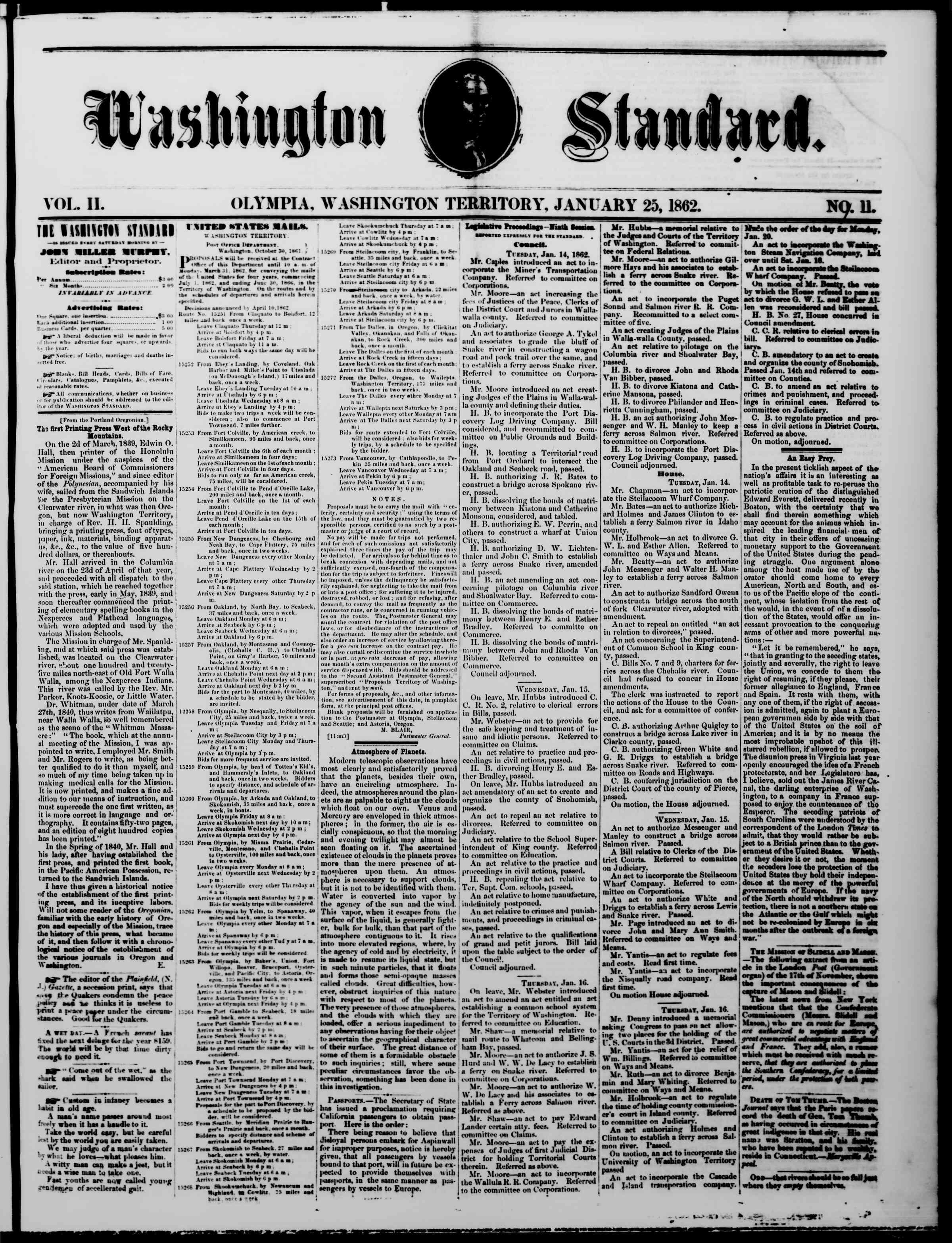 Newspaper of The Washington Standard dated January 25, 1862 Page 1