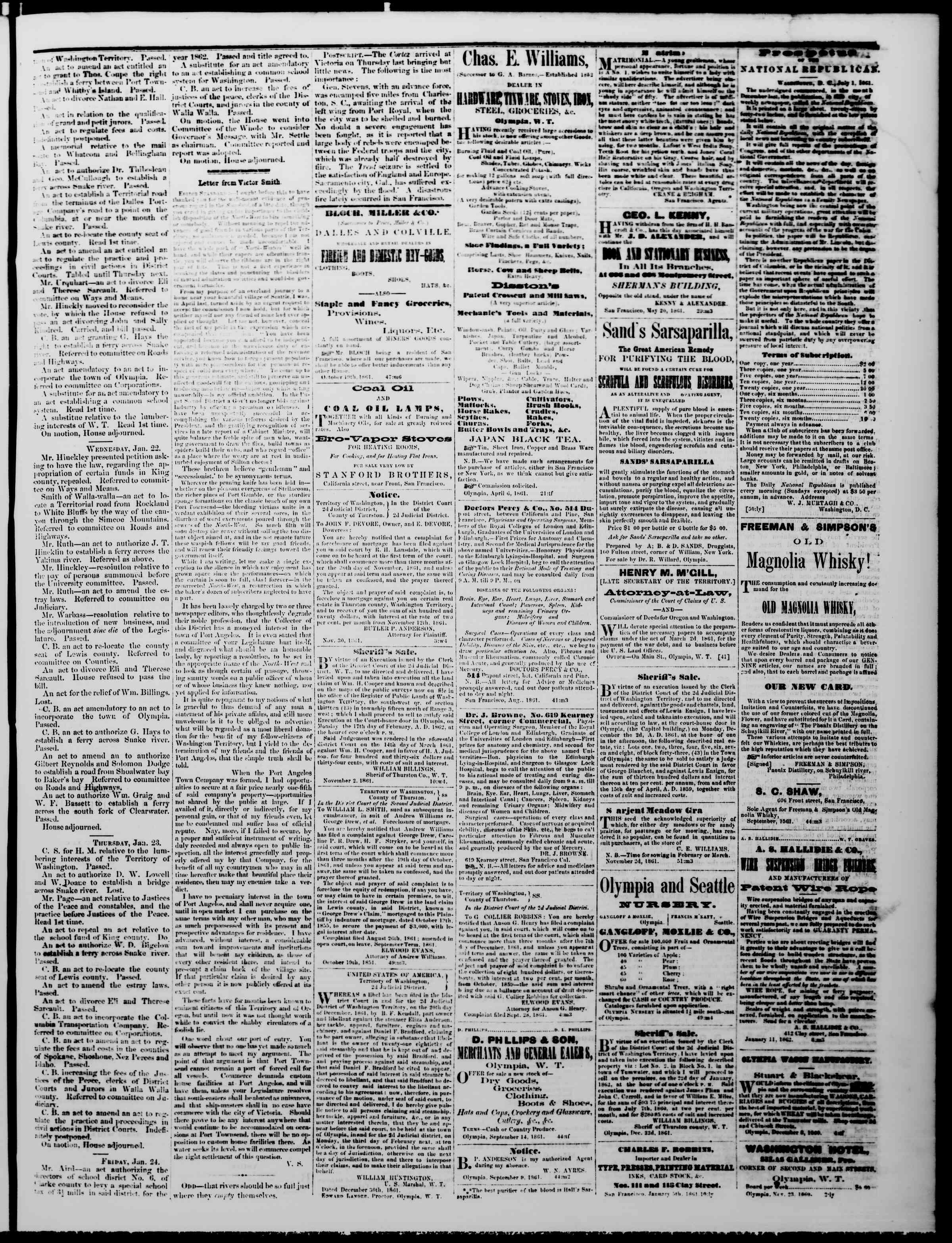 Newspaper of The Washington Standard dated January 25, 1862 Page 3