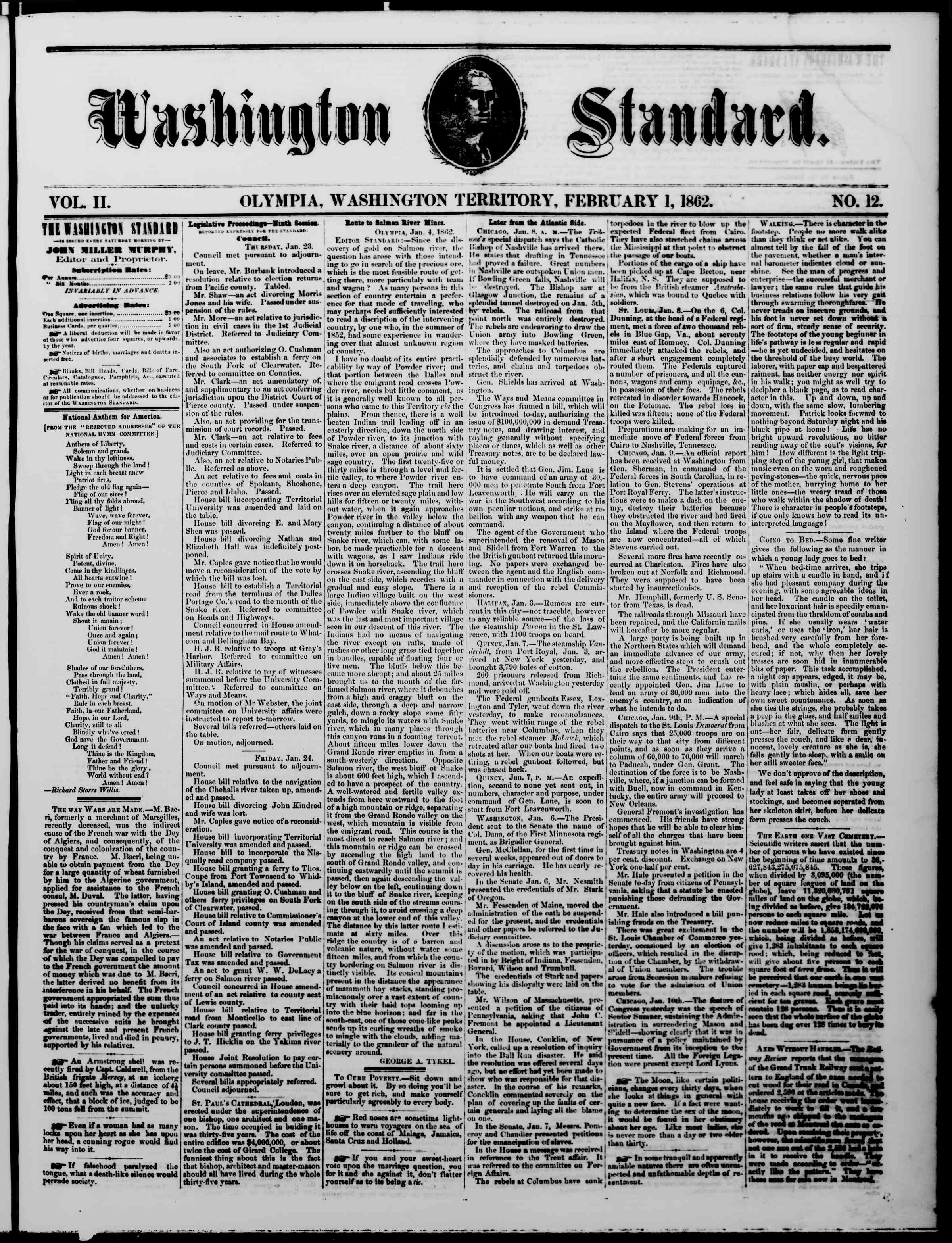 Newspaper of The Washington Standard dated February 1, 1862 Page 1