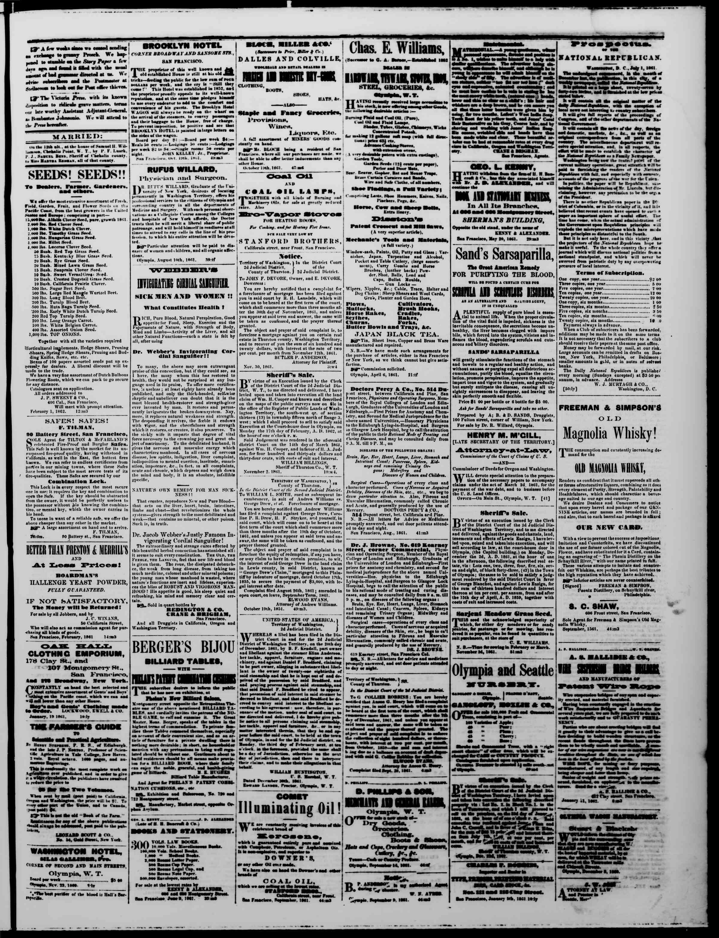 1 Şubat 1862 tarihli The Washington Standard Gazetesi Sayfa 3