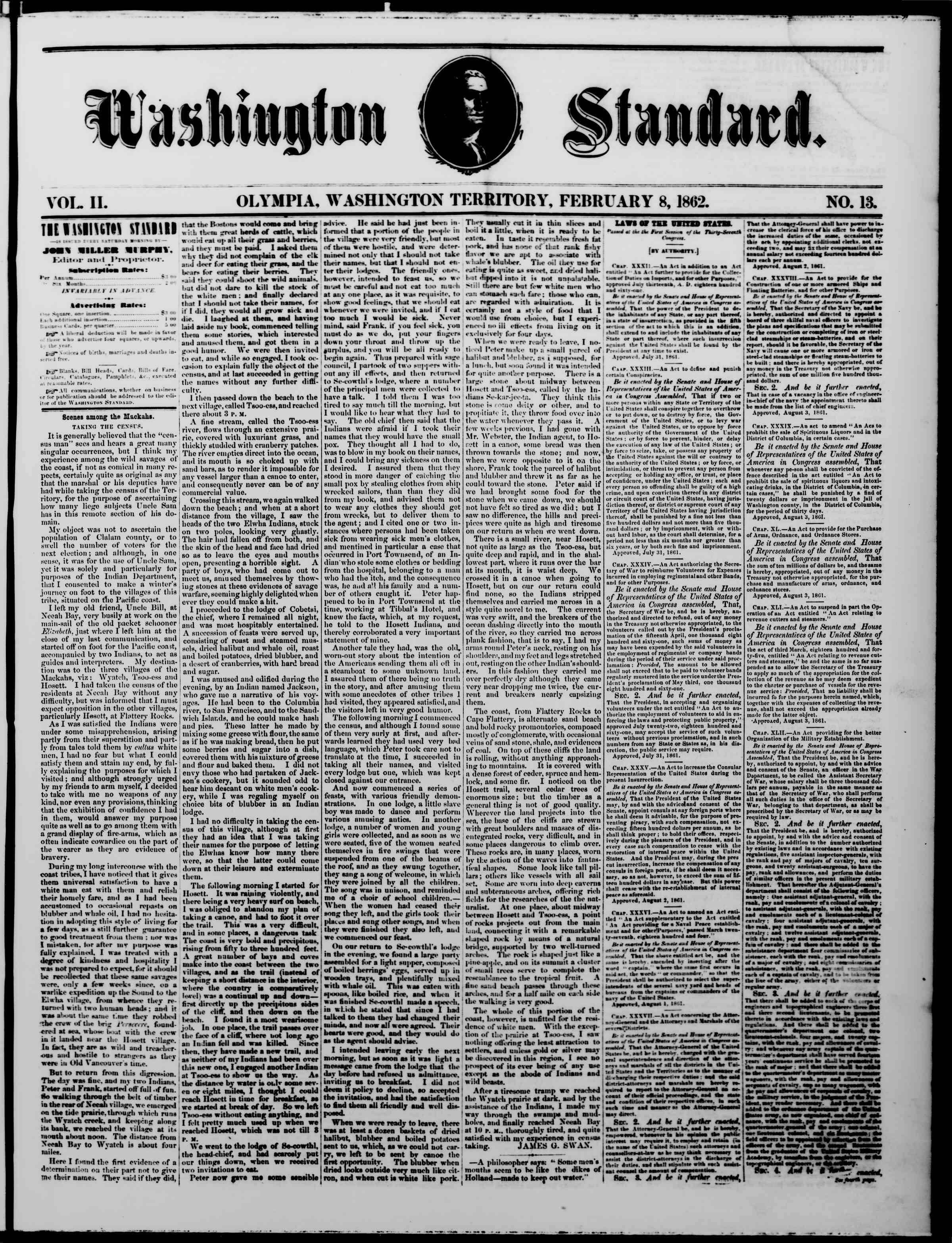 Newspaper of The Washington Standard dated February 8, 1862 Page 1