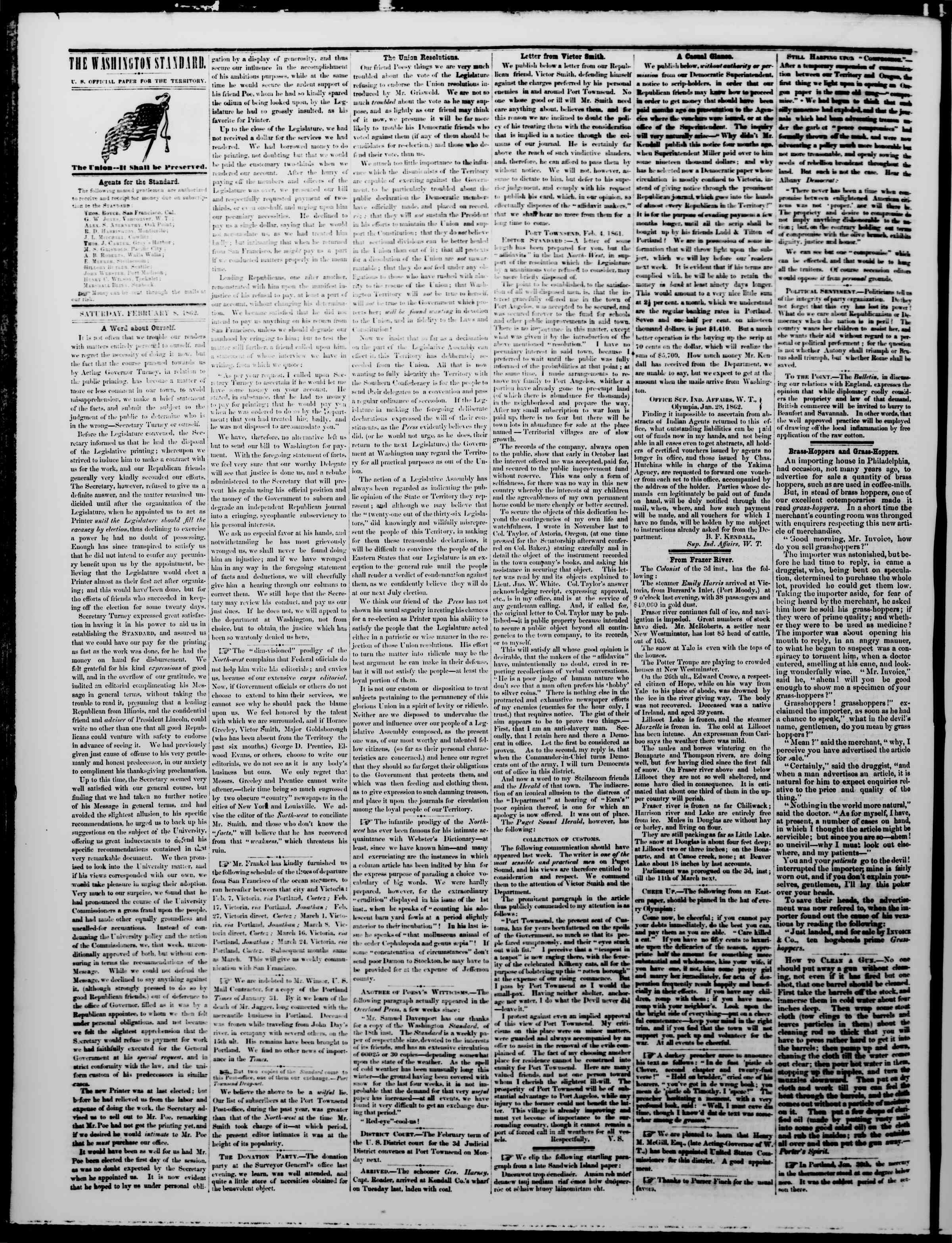 Newspaper of The Washington Standard dated February 8, 1862 Page 2