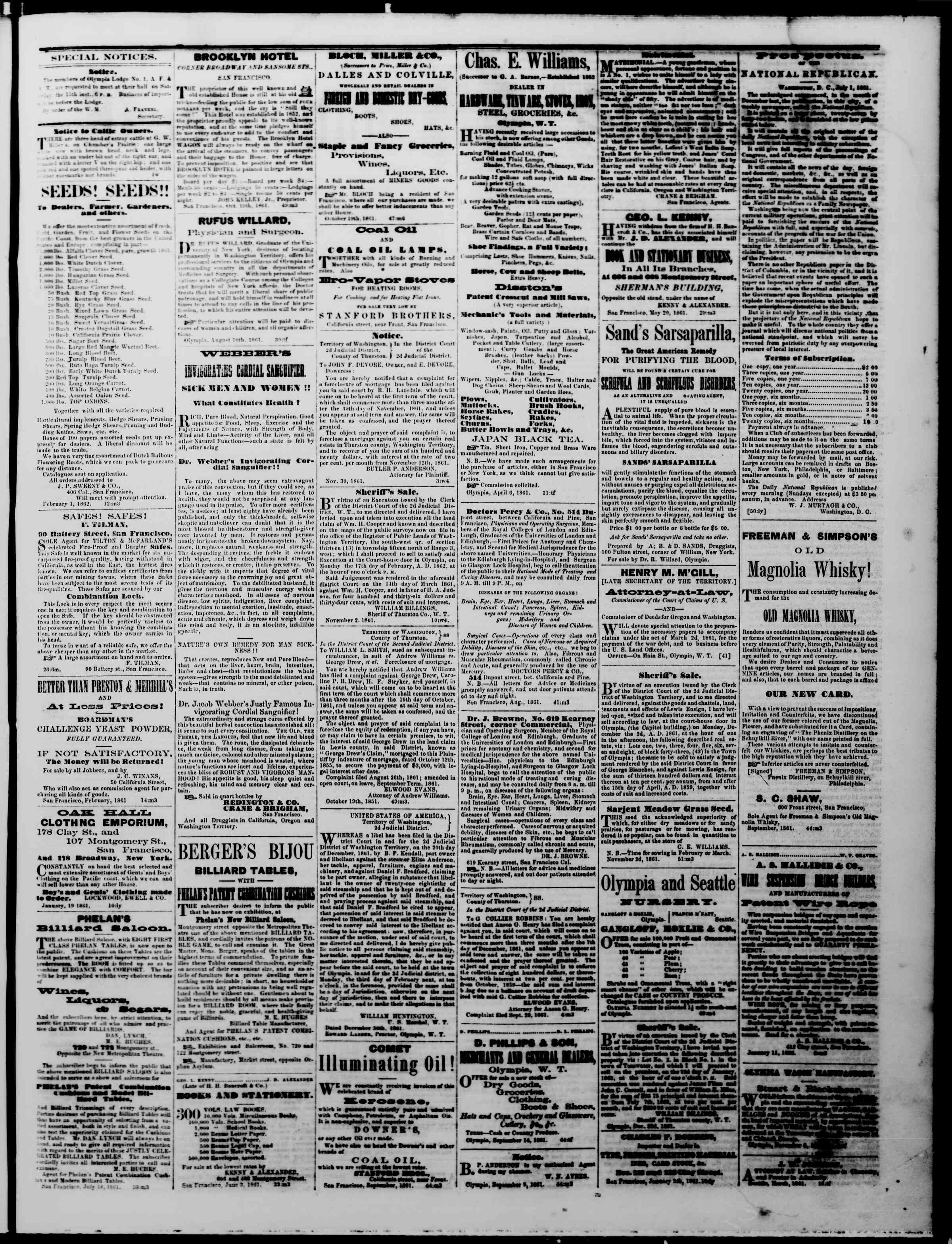 Newspaper of The Washington Standard dated February 8, 1862 Page 3