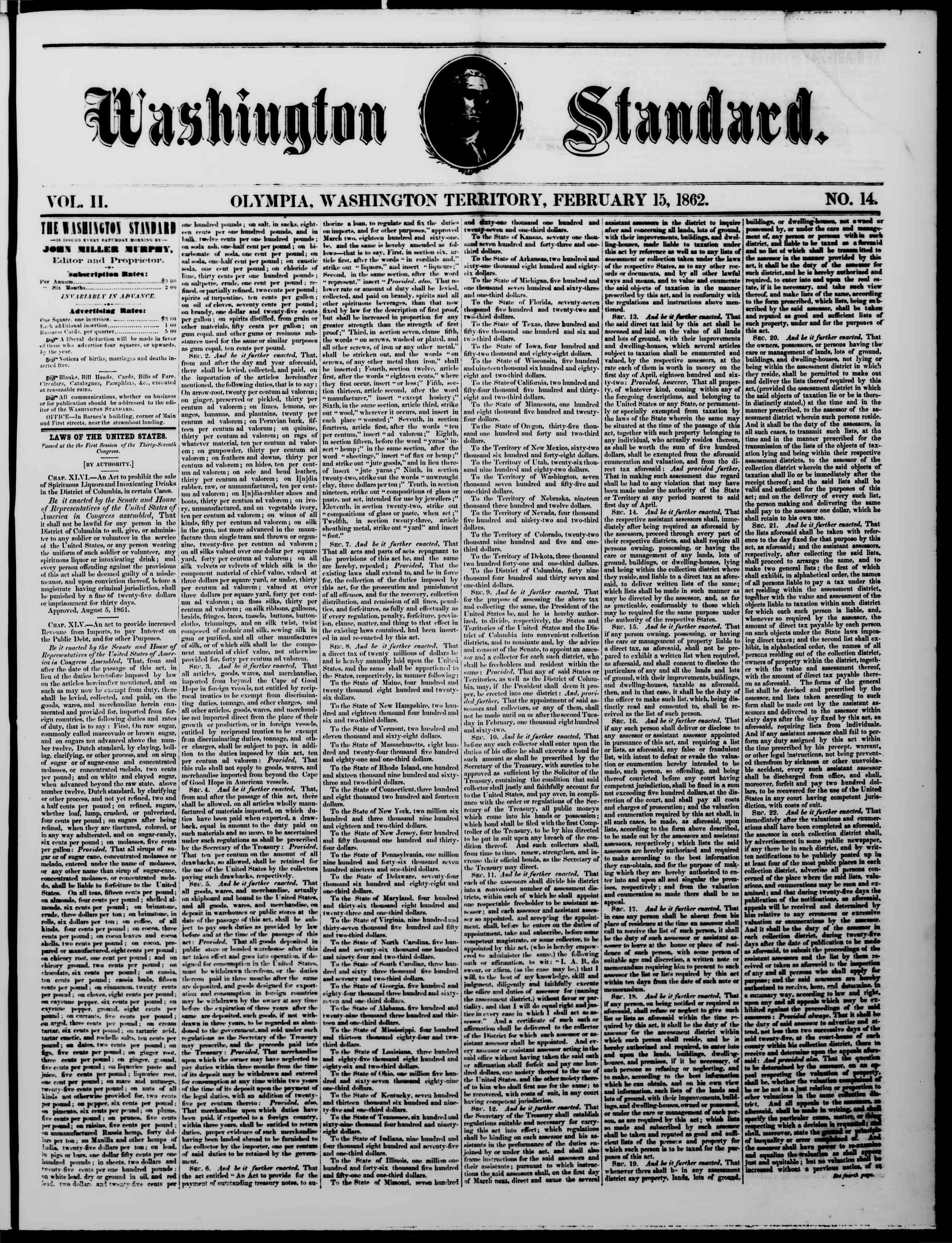 Newspaper of The Washington Standard dated February 15, 1862 Page 1