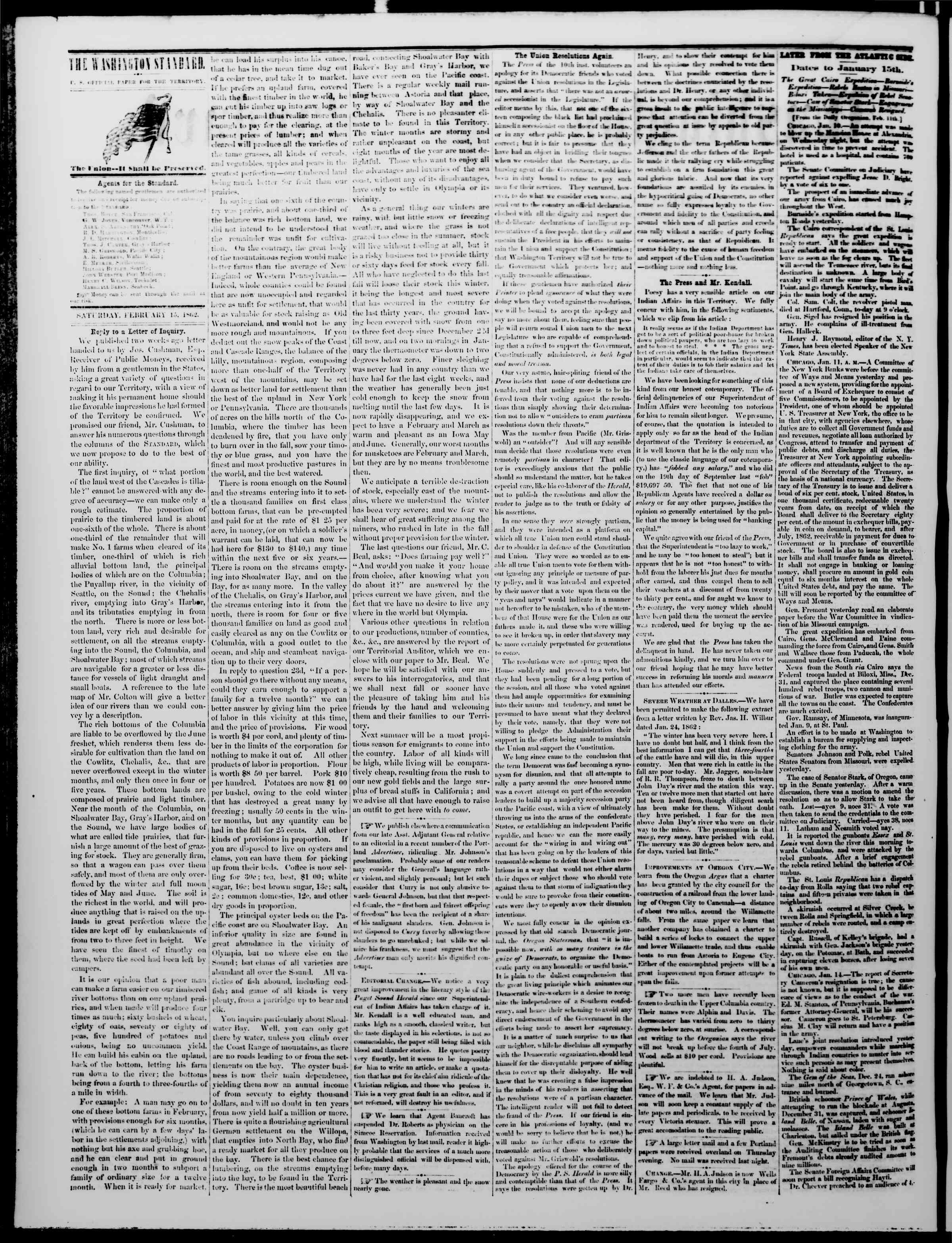 Newspaper of The Washington Standard dated February 15, 1862 Page 2