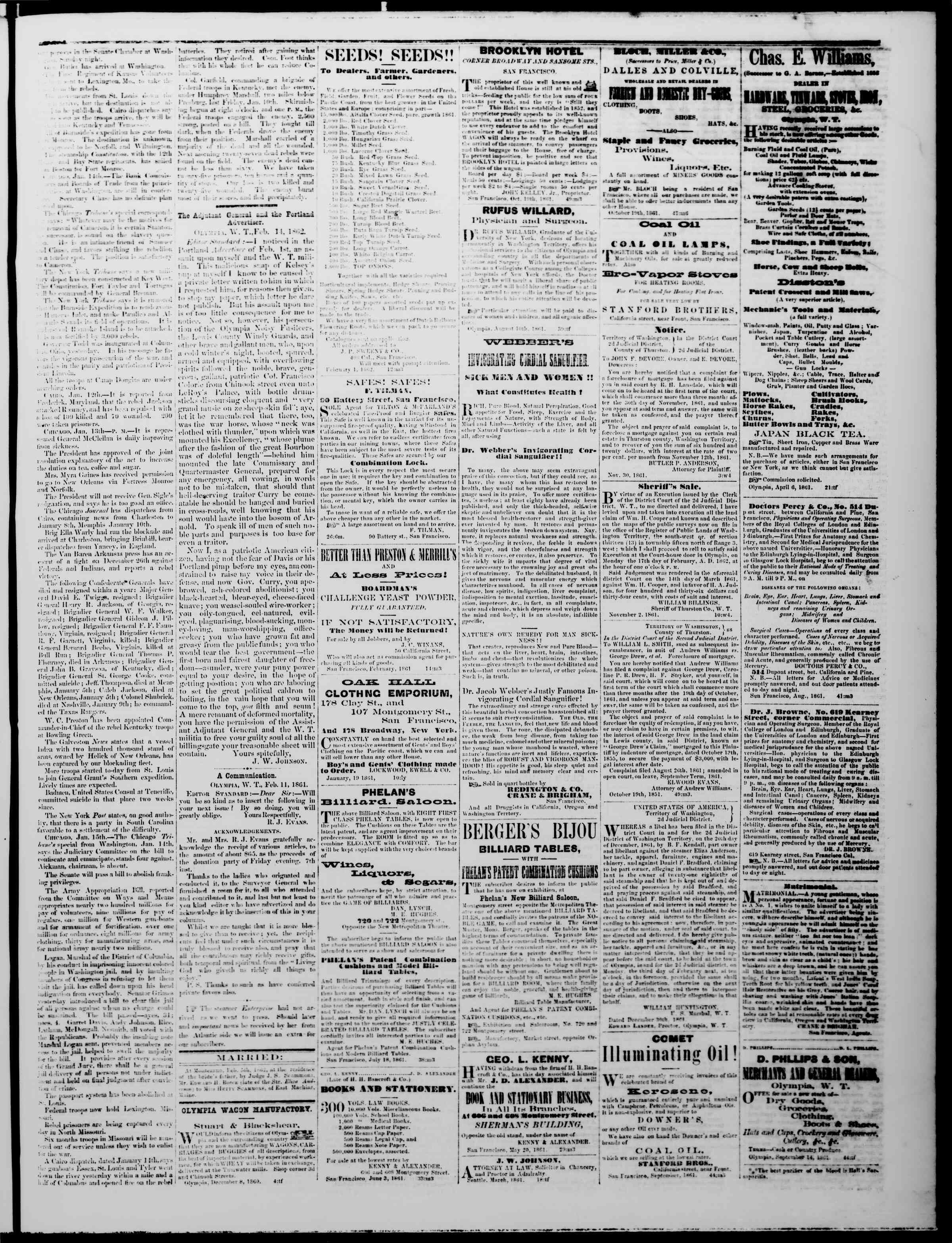 Newspaper of The Washington Standard dated February 15, 1862 Page 3