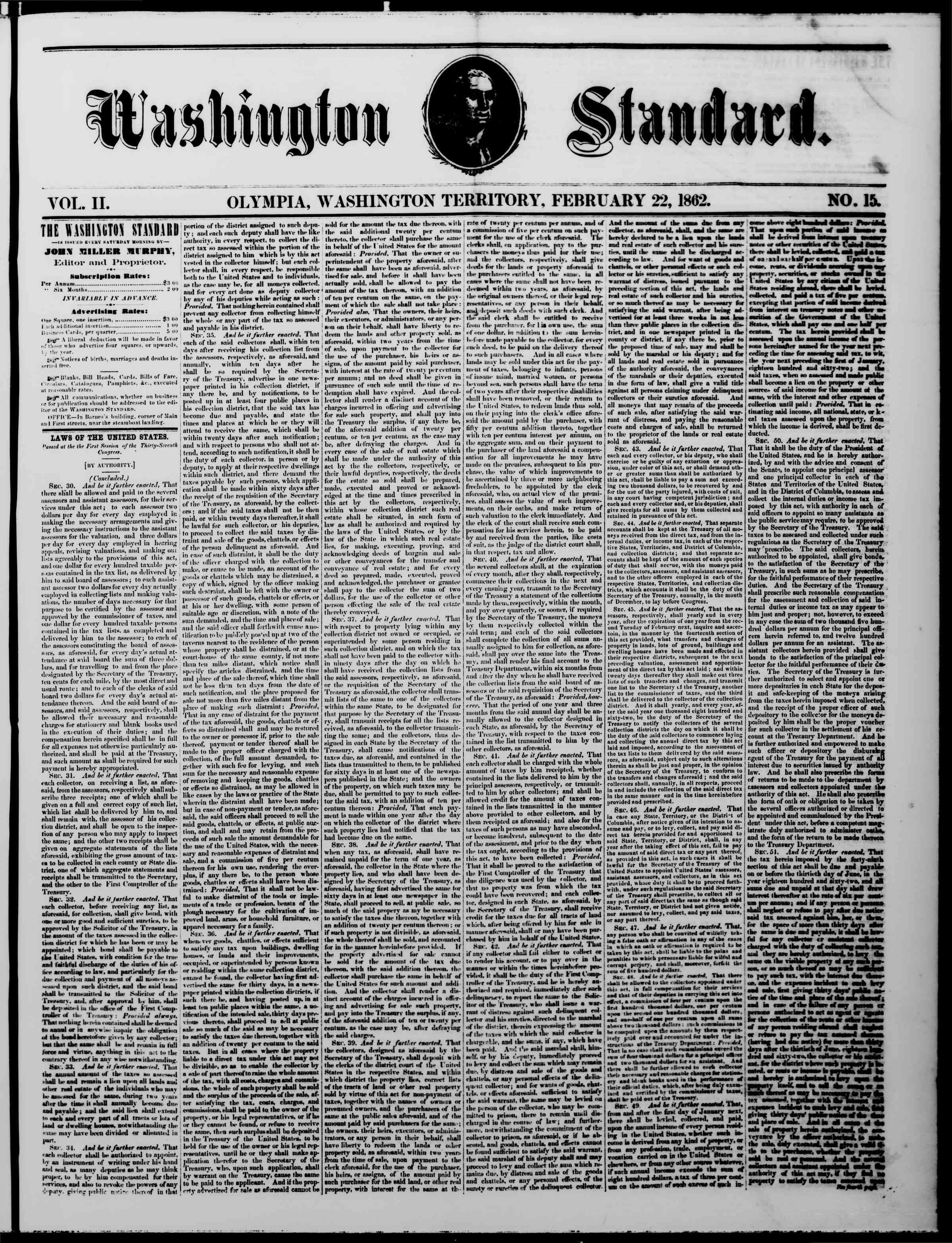 Newspaper of The Washington Standard dated February 22, 1862 Page 1
