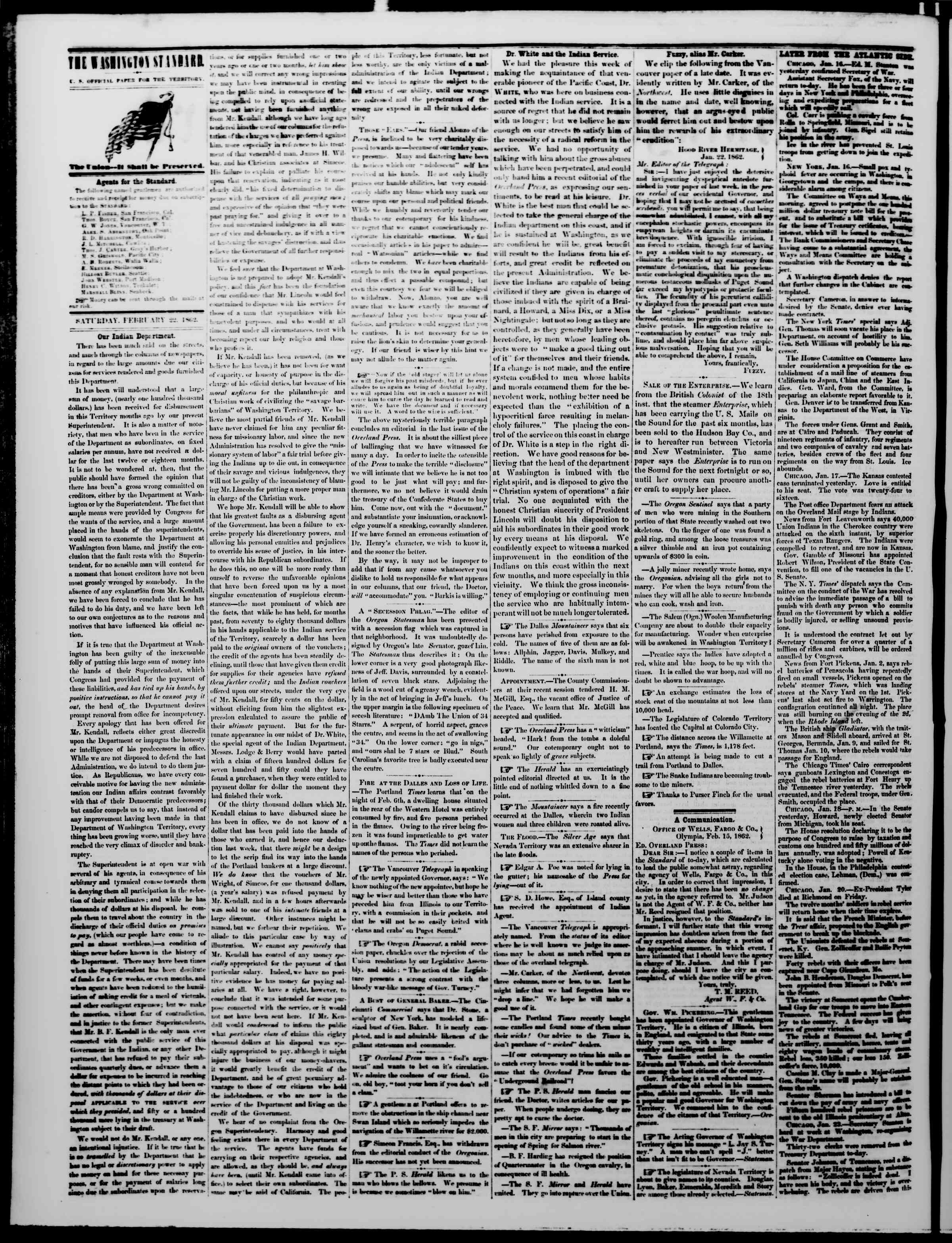 Newspaper of The Washington Standard dated February 22, 1862 Page 2