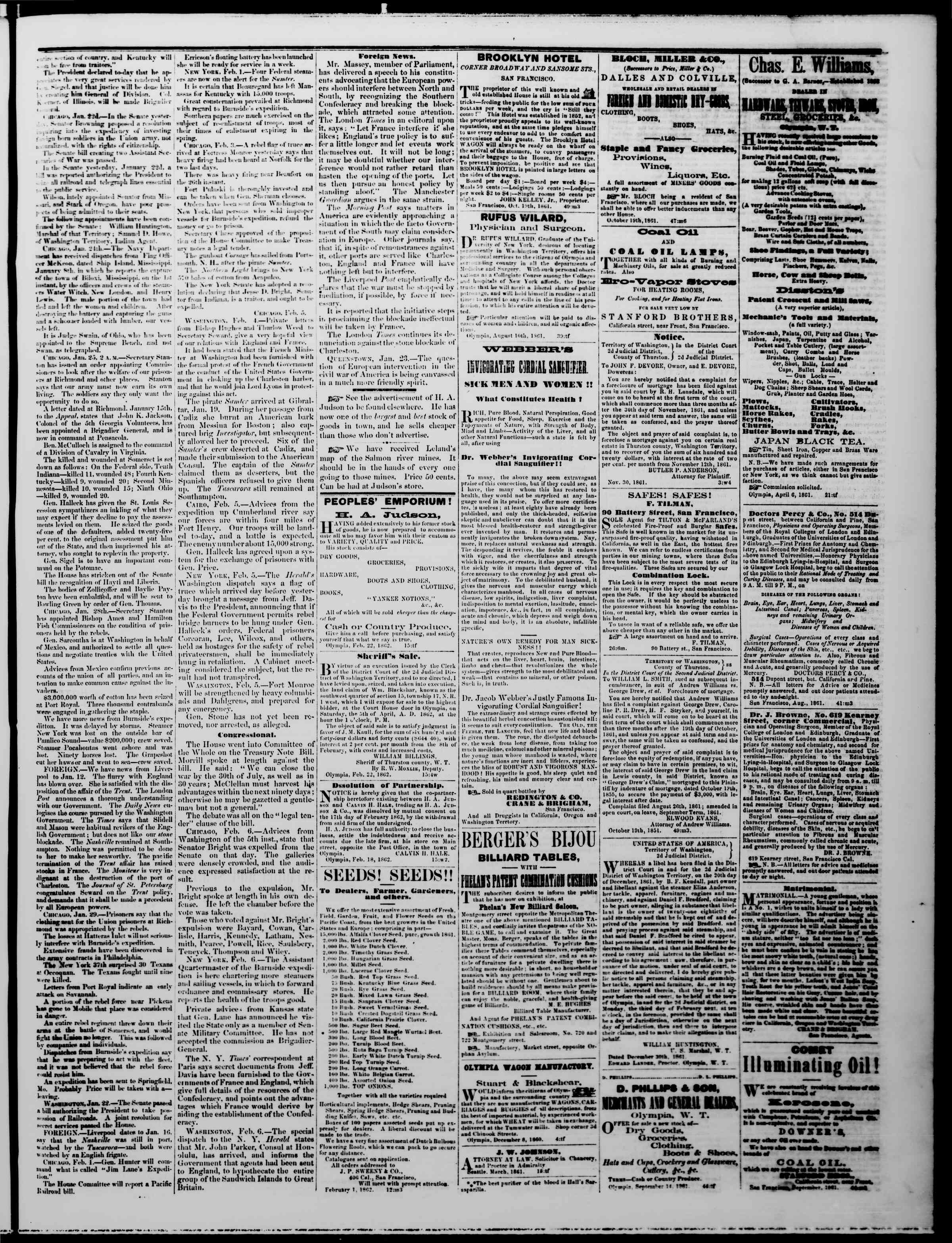 Newspaper of The Washington Standard dated February 22, 1862 Page 3
