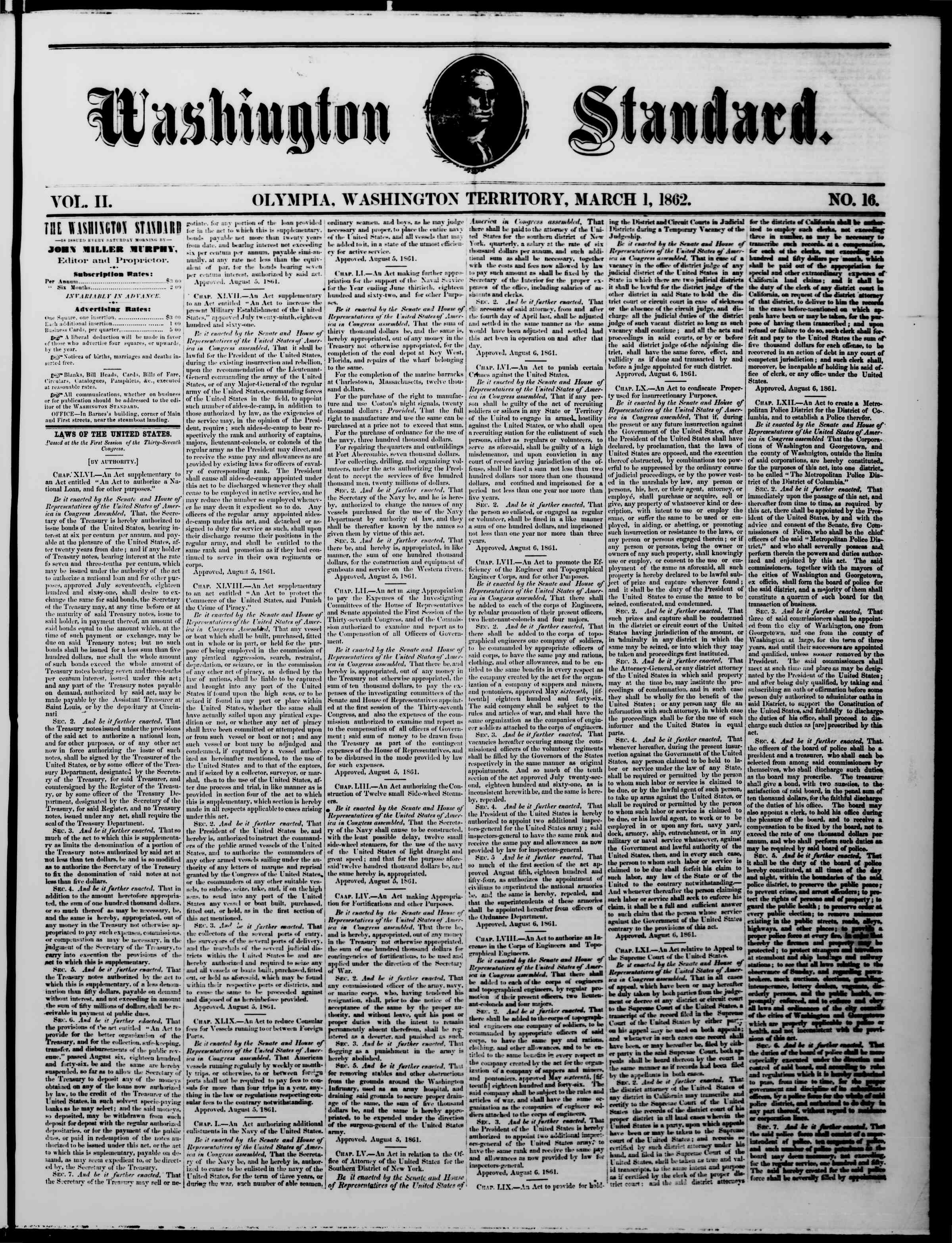Newspaper of The Washington Standard dated March 1, 1862 Page 1