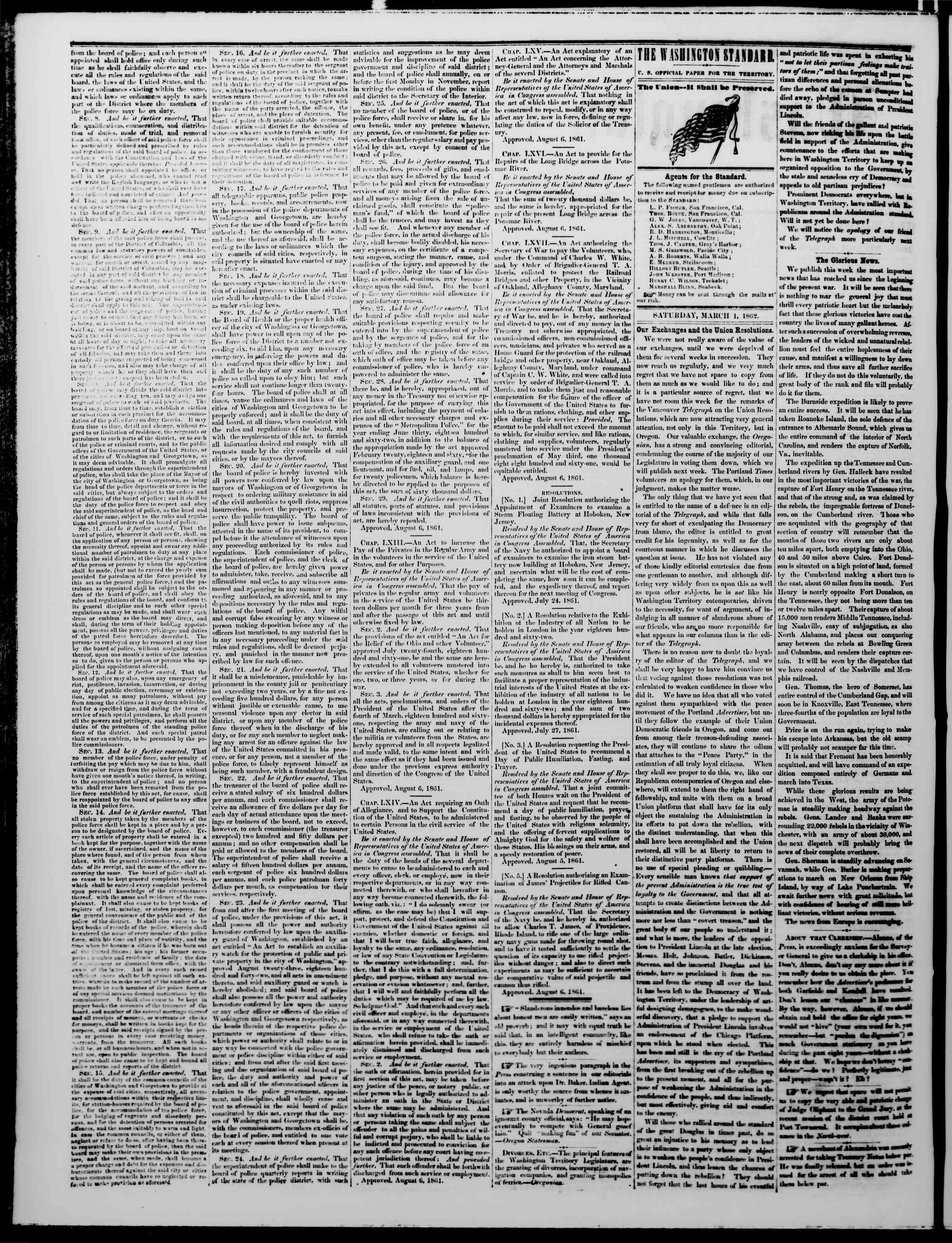 Newspaper of The Washington Standard dated March 1, 1862 Page 2