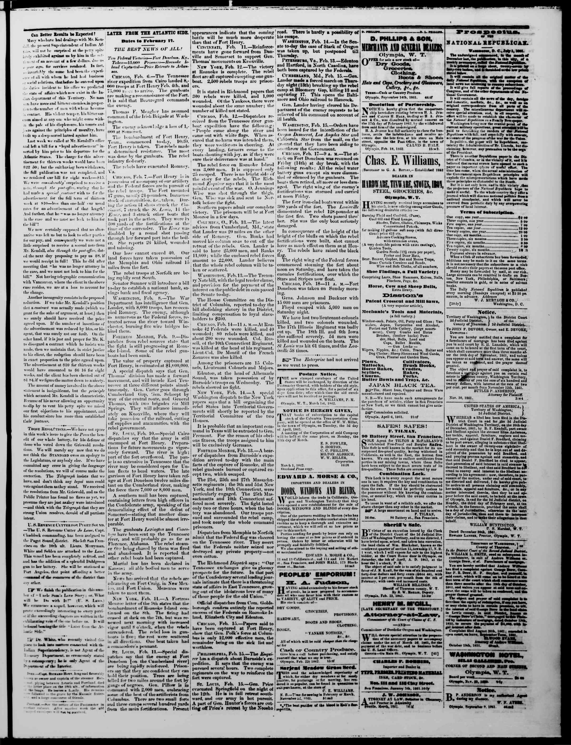 Newspaper of The Washington Standard dated March 1, 1862 Page 3