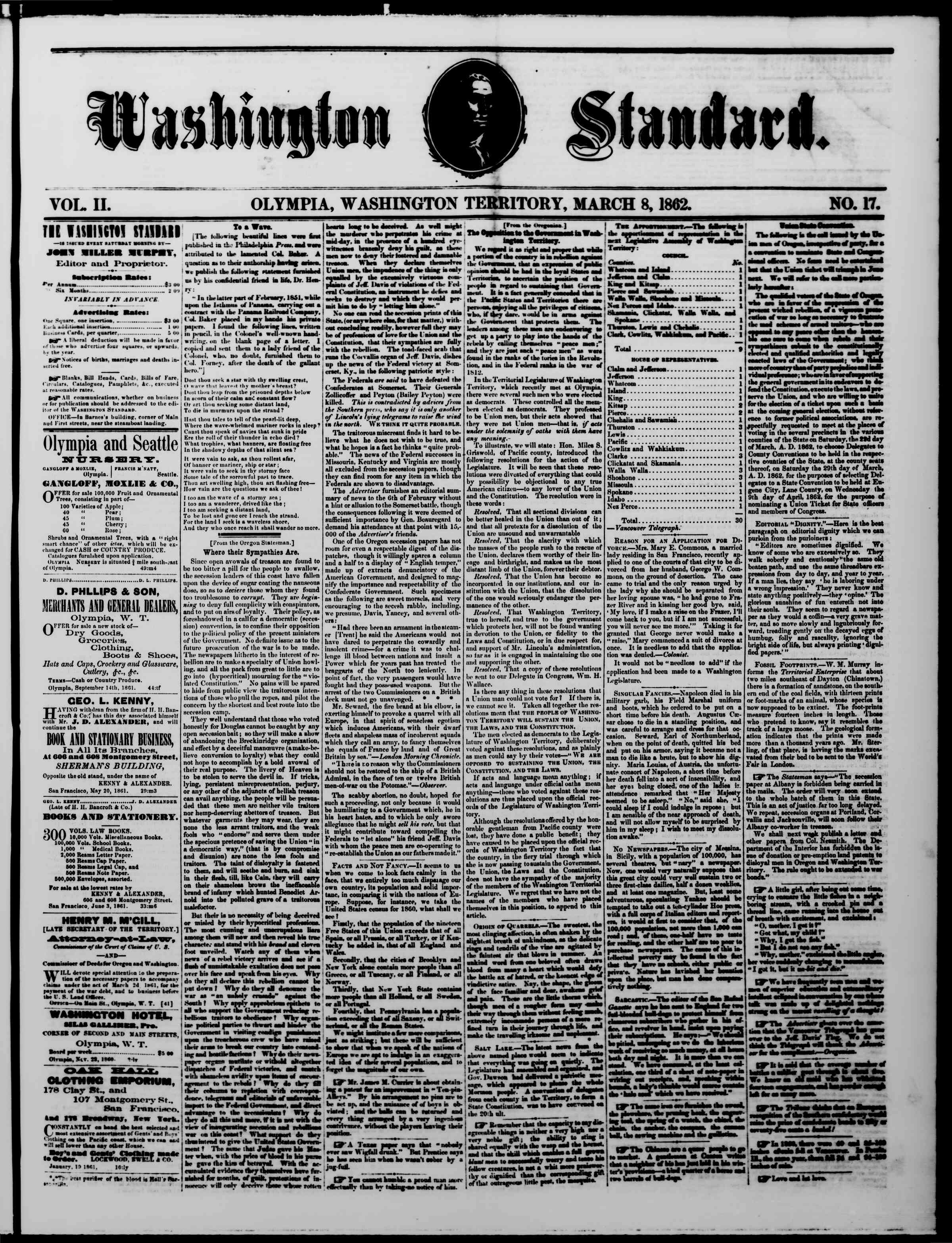 Newspaper of The Washington Standard dated March 8, 1862 Page 1