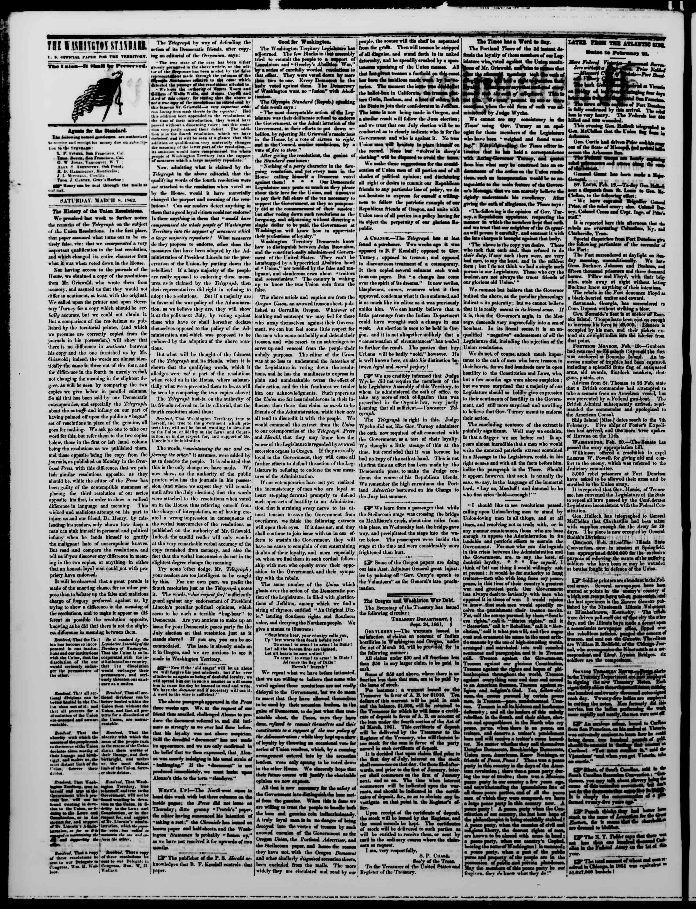 Newspaper of The Washington Standard dated March 8, 1862 Page 2