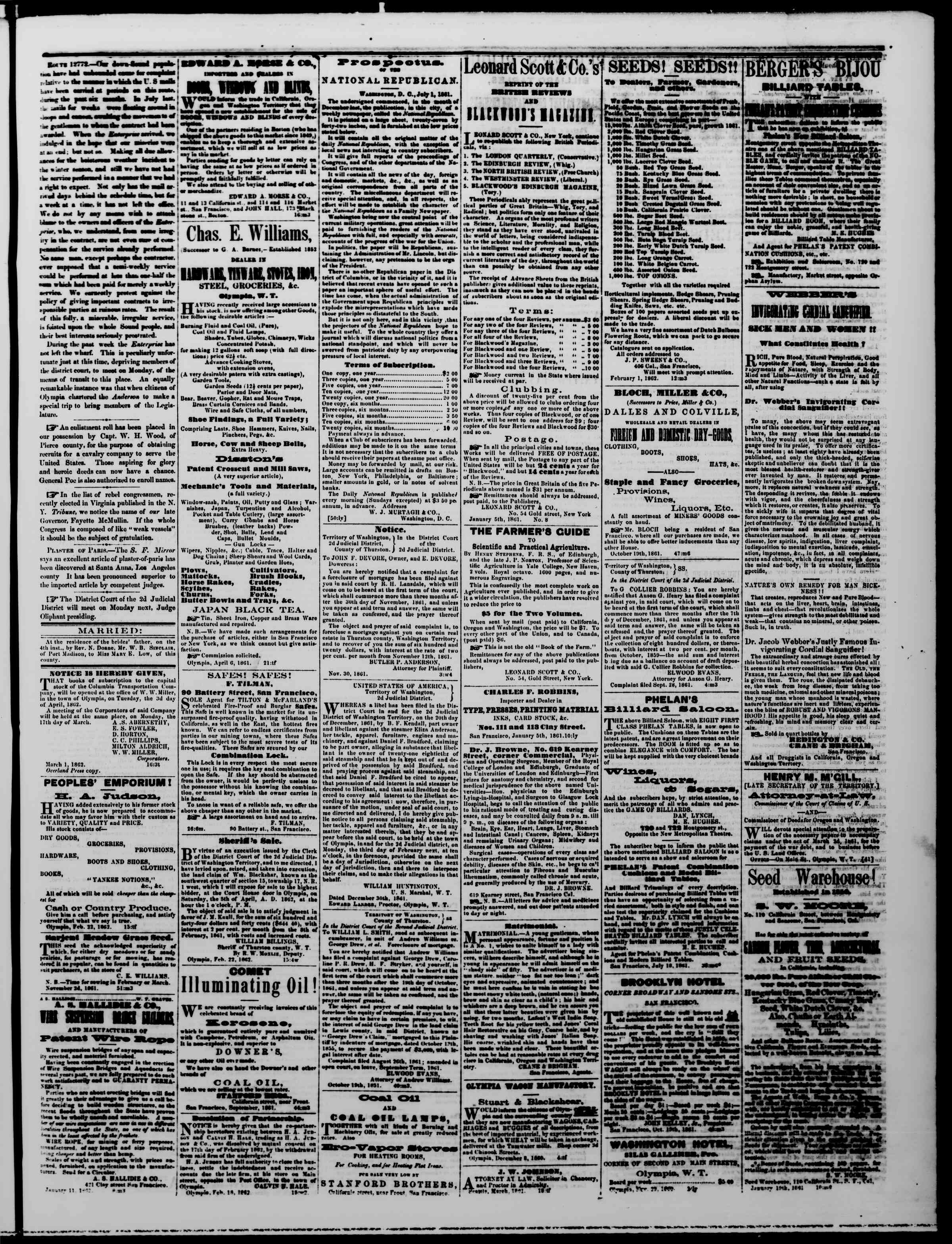 Newspaper of The Washington Standard dated March 8, 1862 Page 3