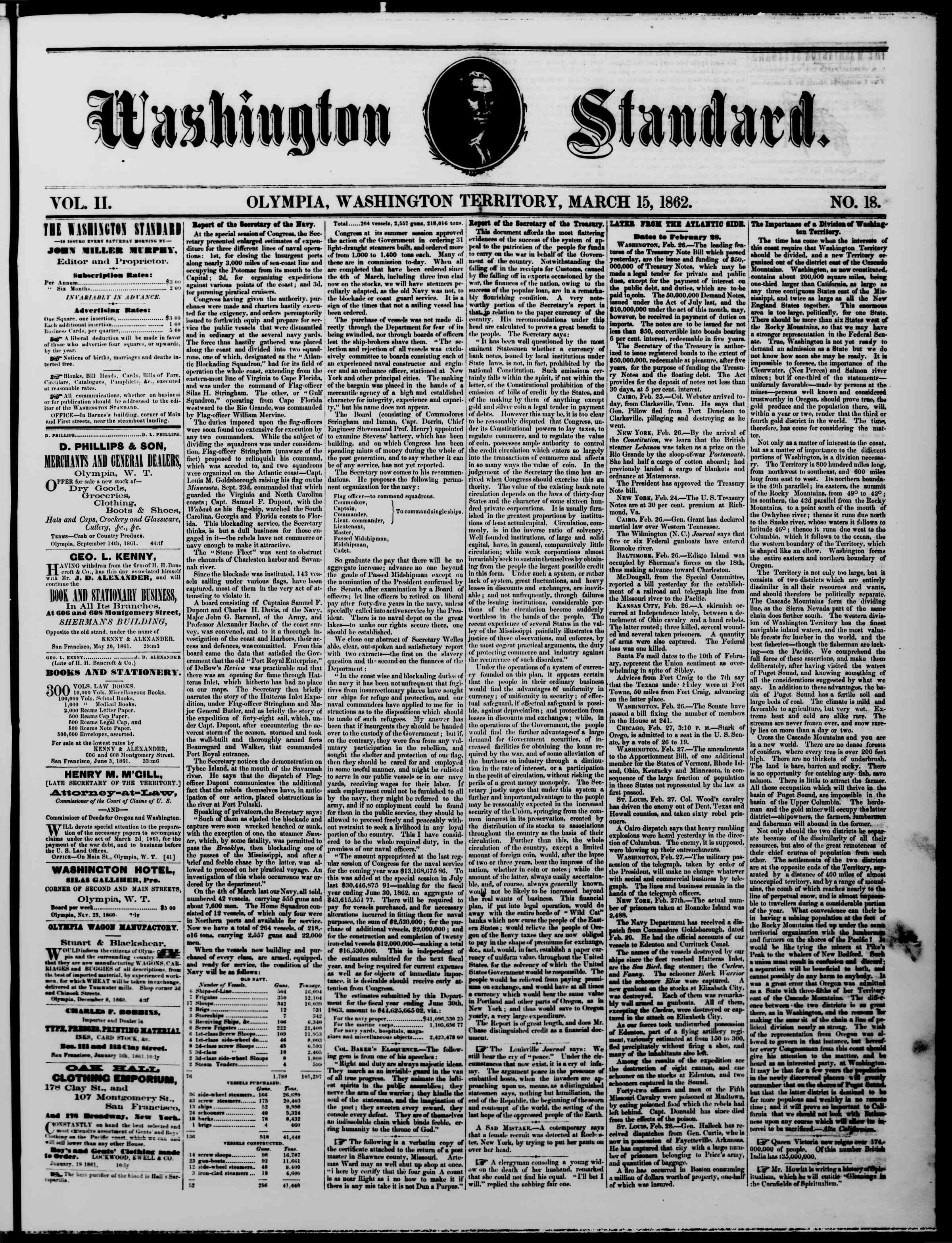 Newspaper of The Washington Standard dated March 15, 1862 Page 1