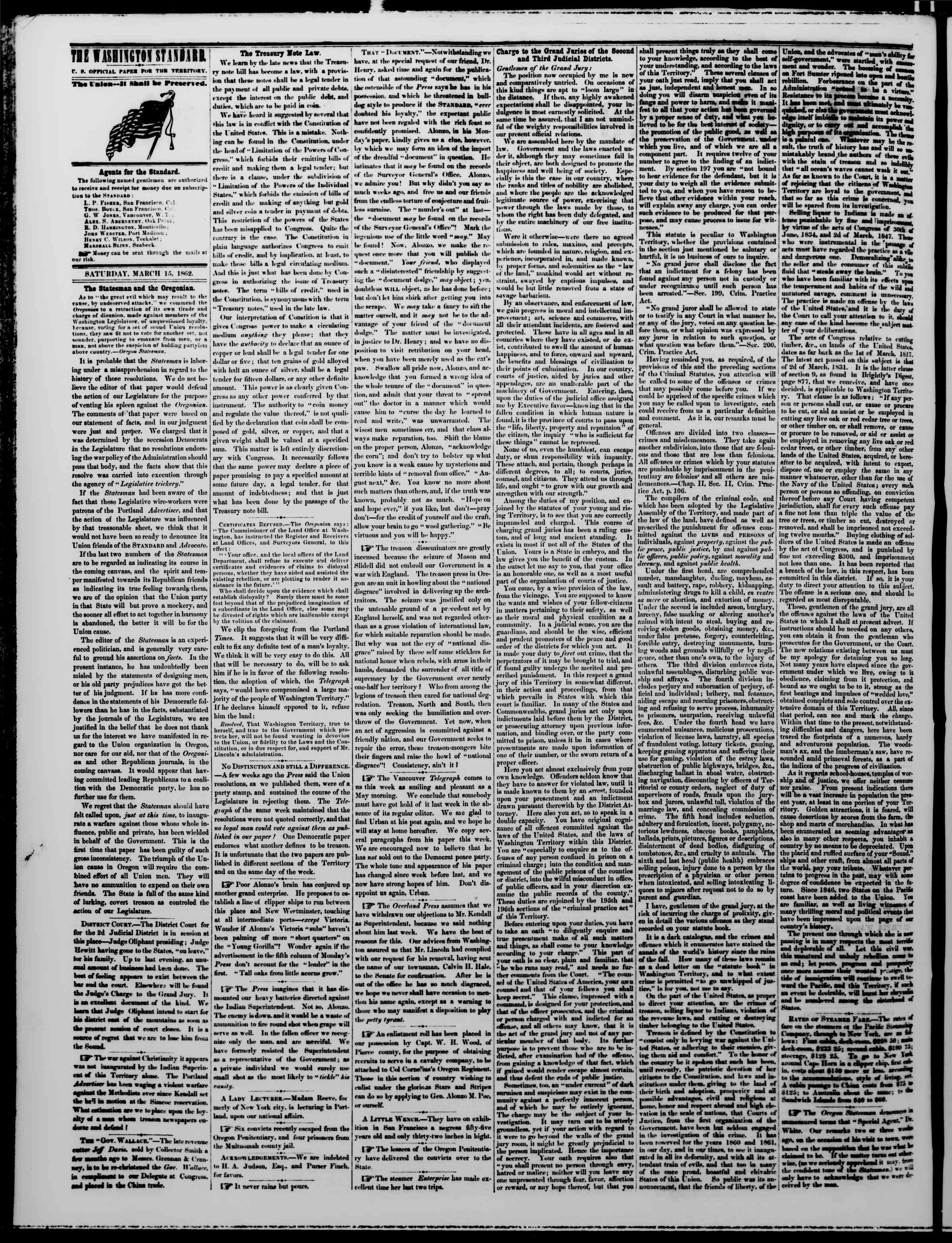 Newspaper of The Washington Standard dated March 15, 1862 Page 2
