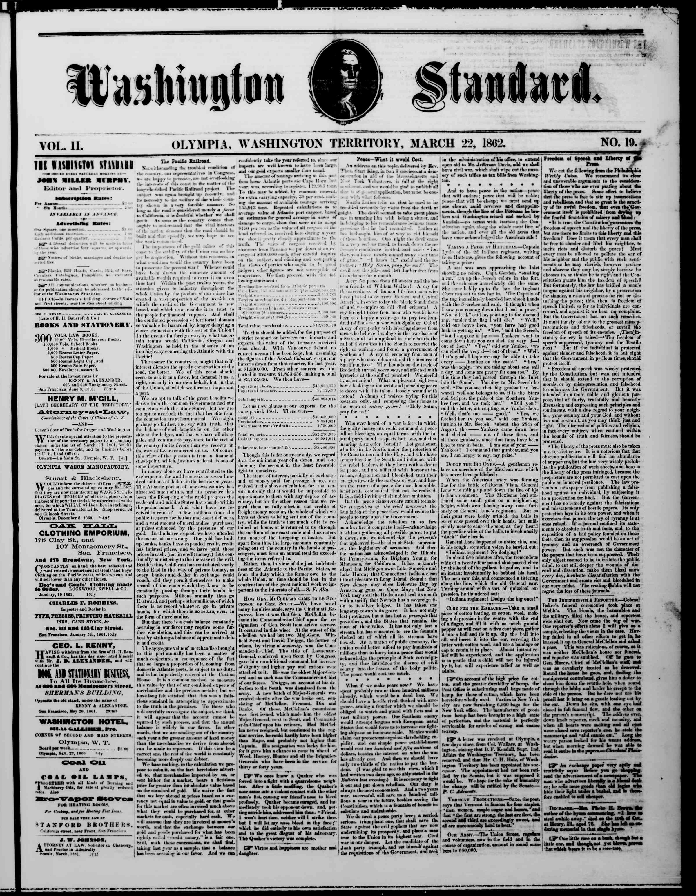 Newspaper of The Washington Standard dated March 22, 1862 Page 1