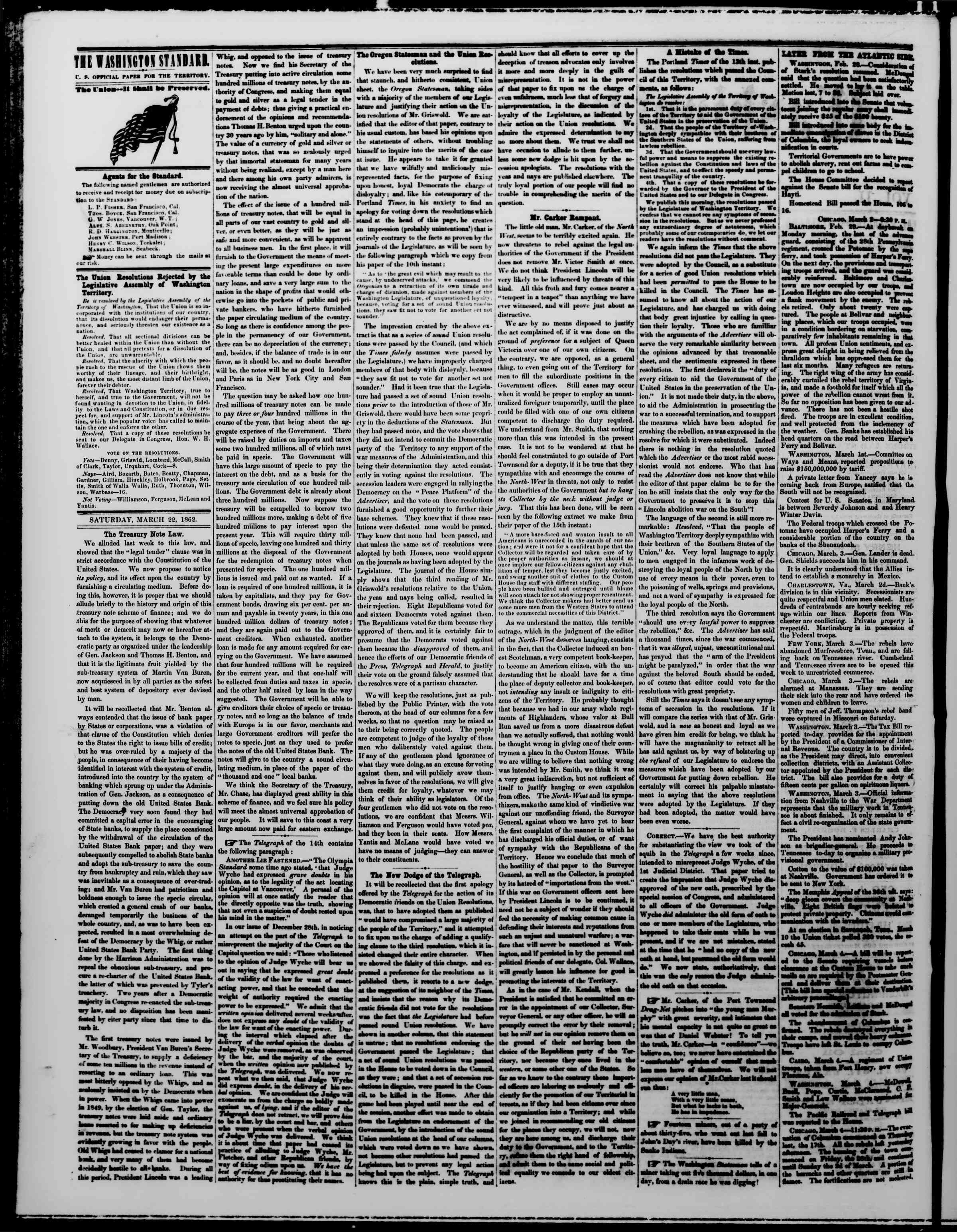 Newspaper of The Washington Standard dated March 22, 1862 Page 2