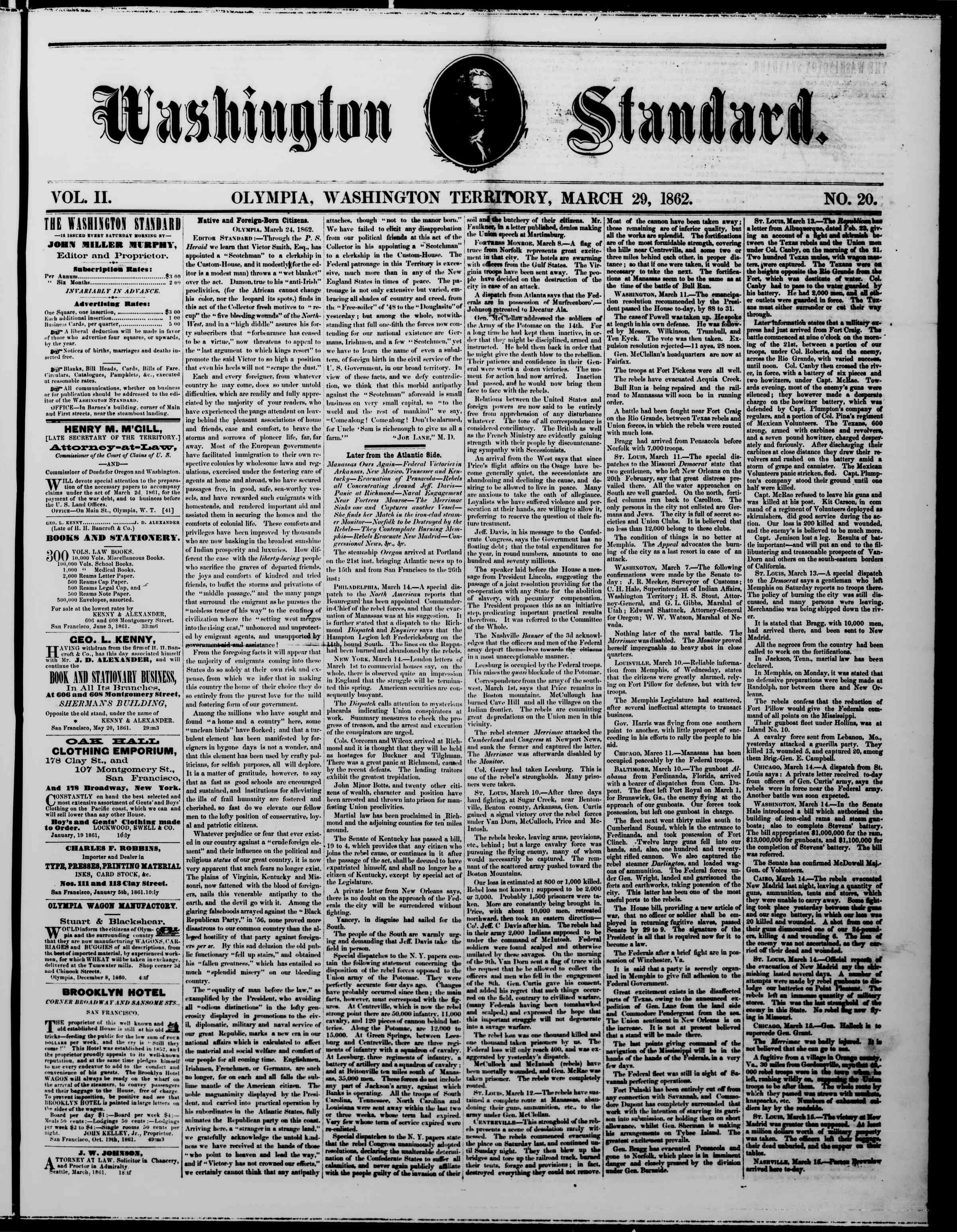 Newspaper of The Washington Standard dated March 29, 1862 Page 1